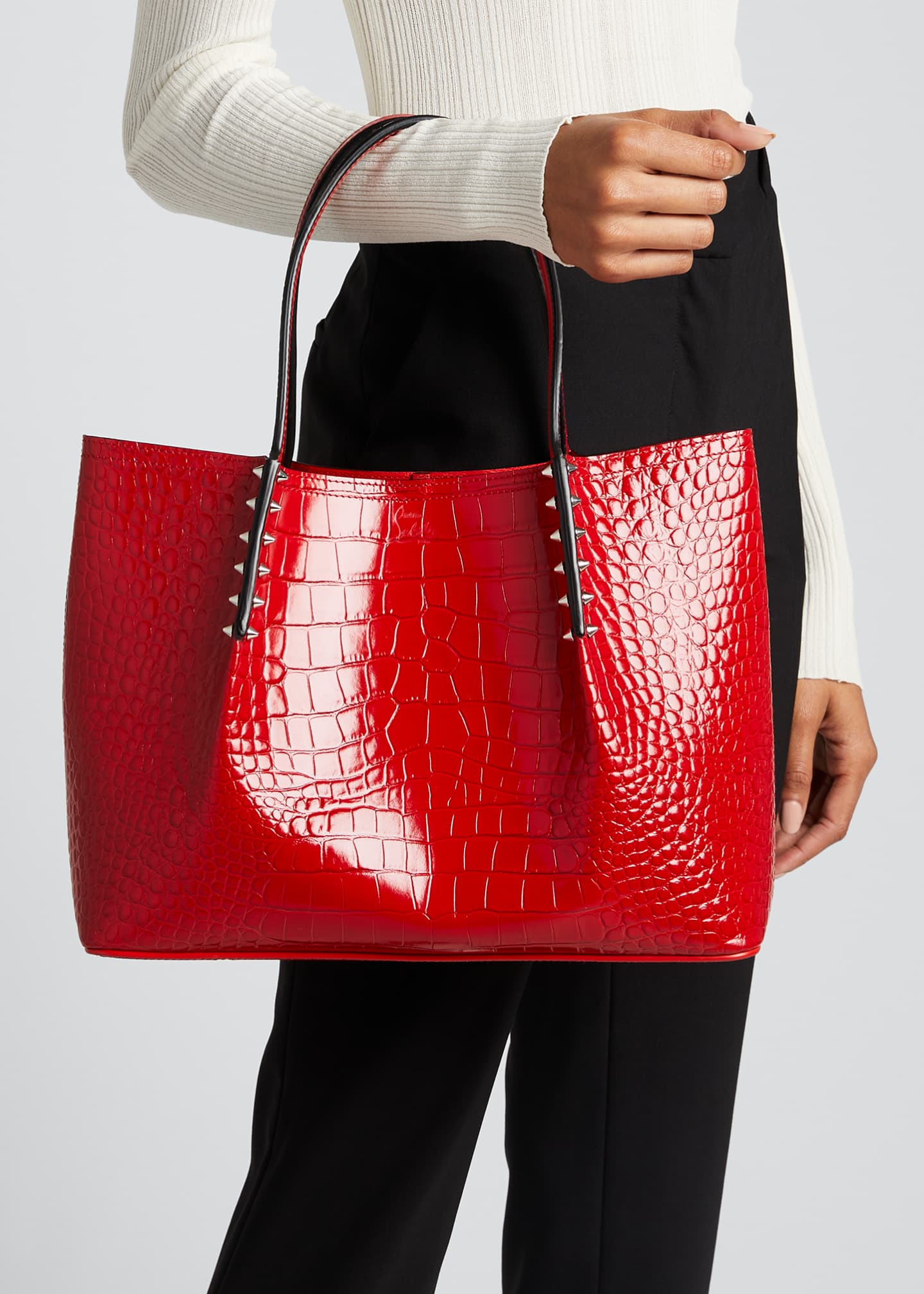 Image 2 of 5: Cabarock Small Mock-Croc Spiked Shopper Tote Bag