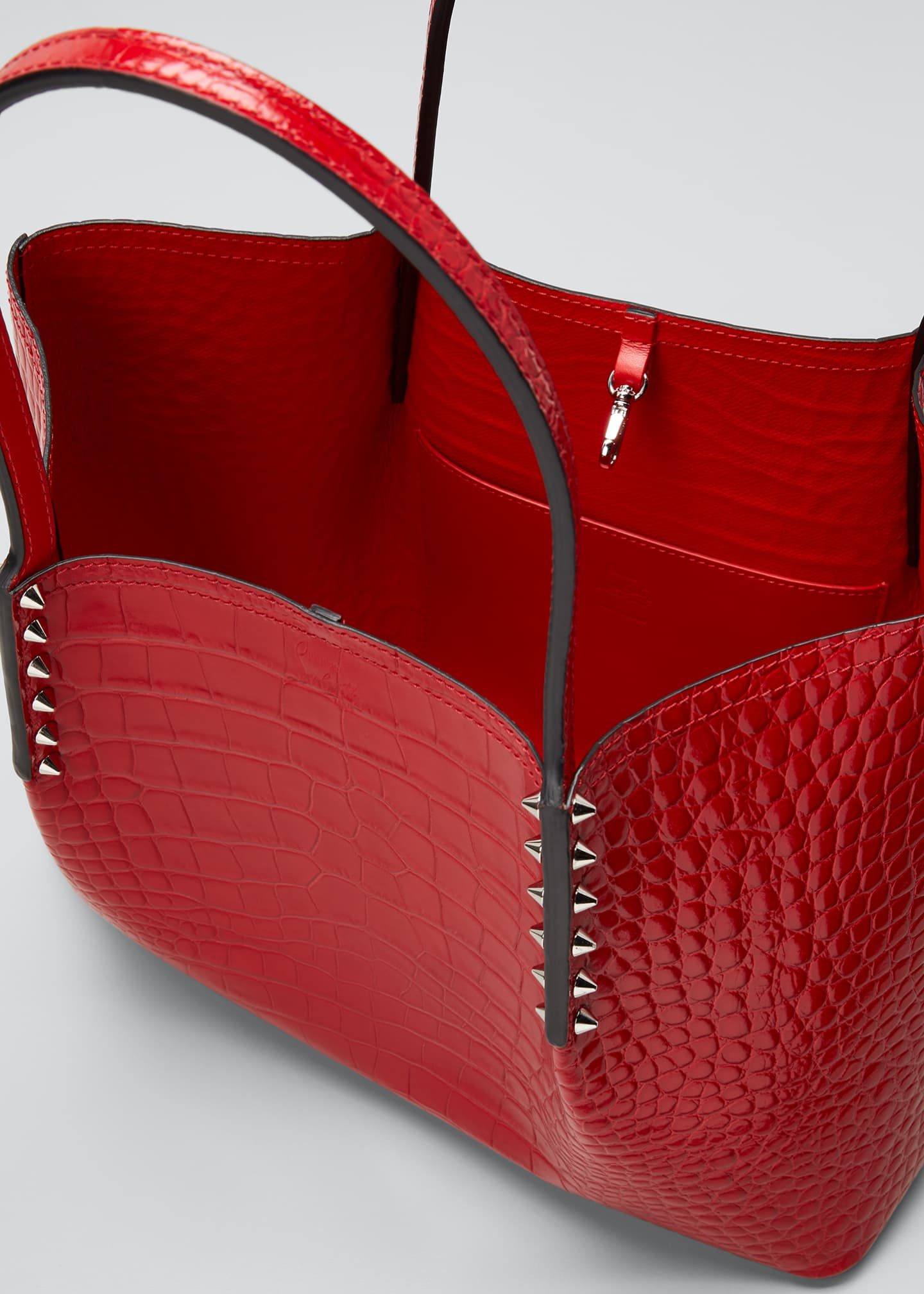 Image 4 of 5: Cabarock Small Mock-Croc Spiked Shopper Tote Bag