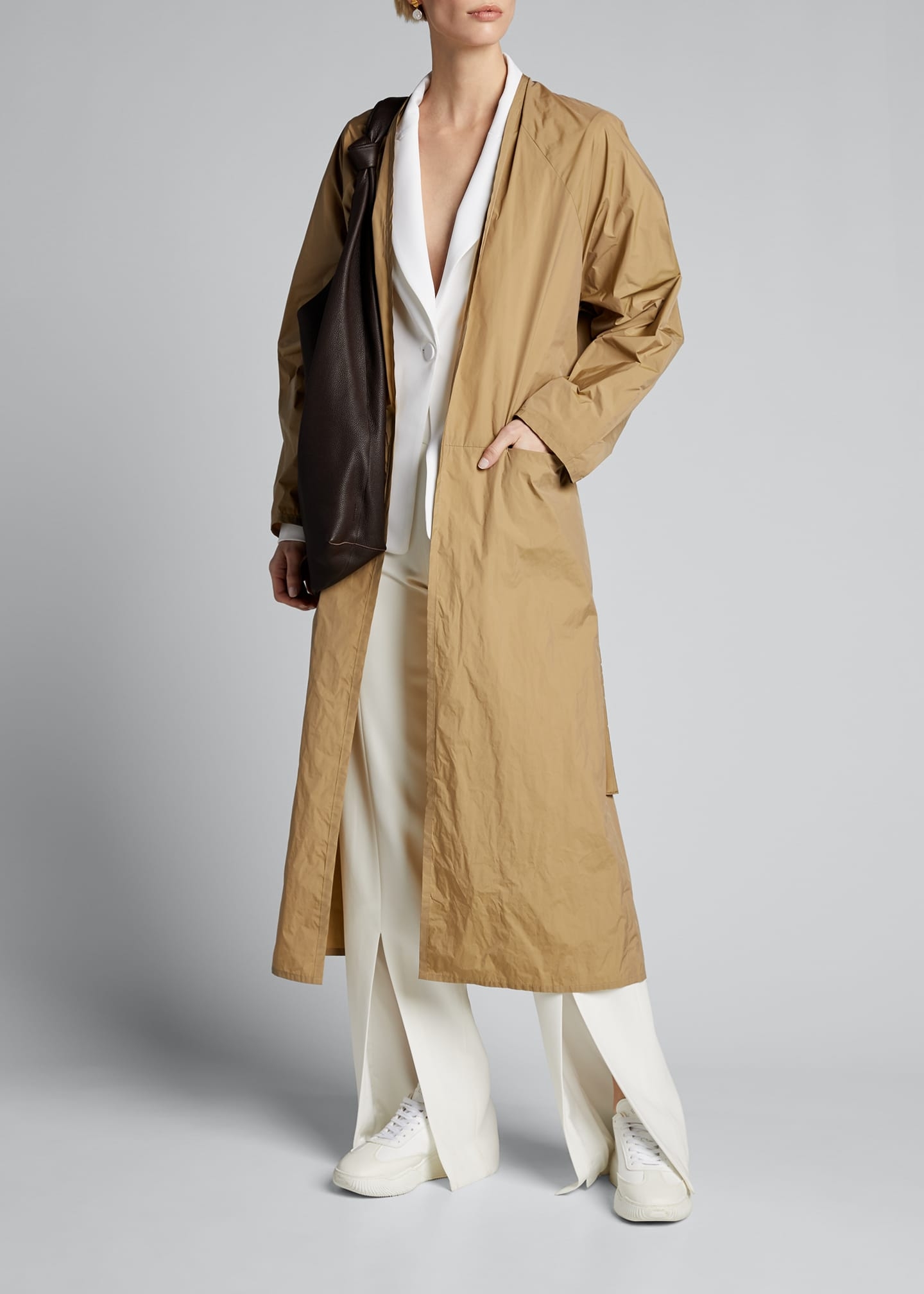 Long V Dress Coat with Belted Waist