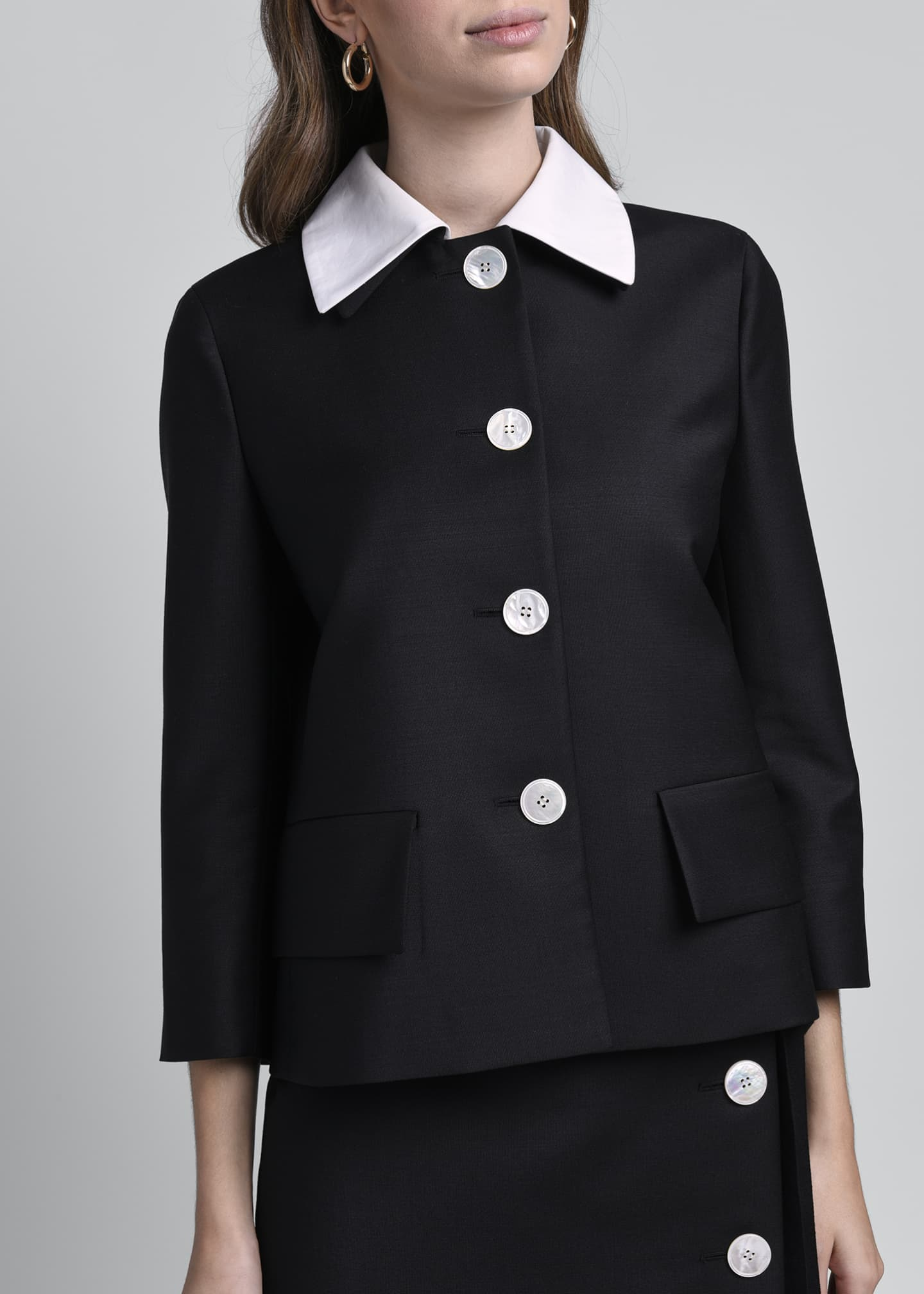 Image 3 of 4: Compact Twill Jacket with Poplin Collar