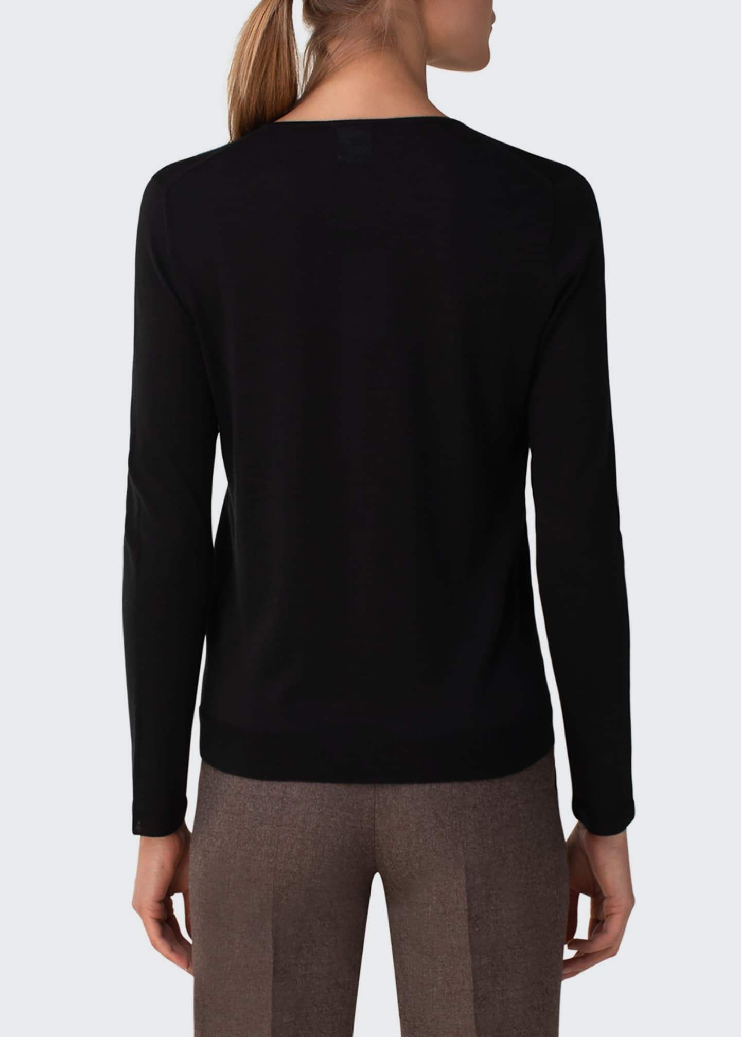 Image 2 of 5: Cashmere-Silk Knit Long-Sleeve Pullover