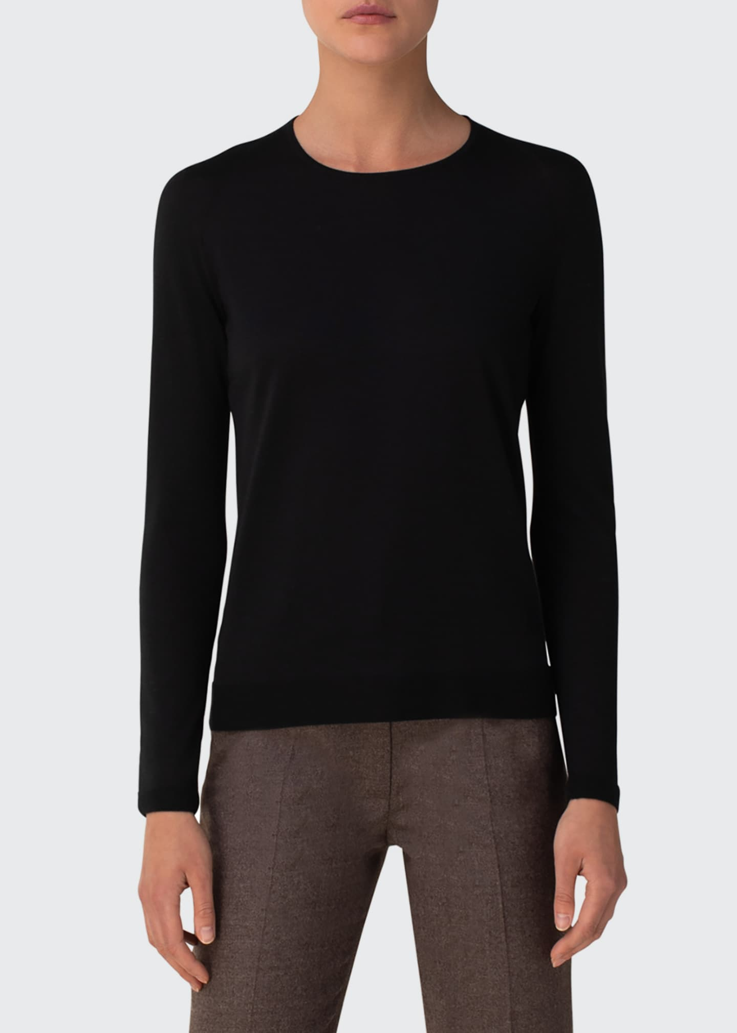 Image 3 of 5: Cashmere-Silk Knit Long-Sleeve Pullover