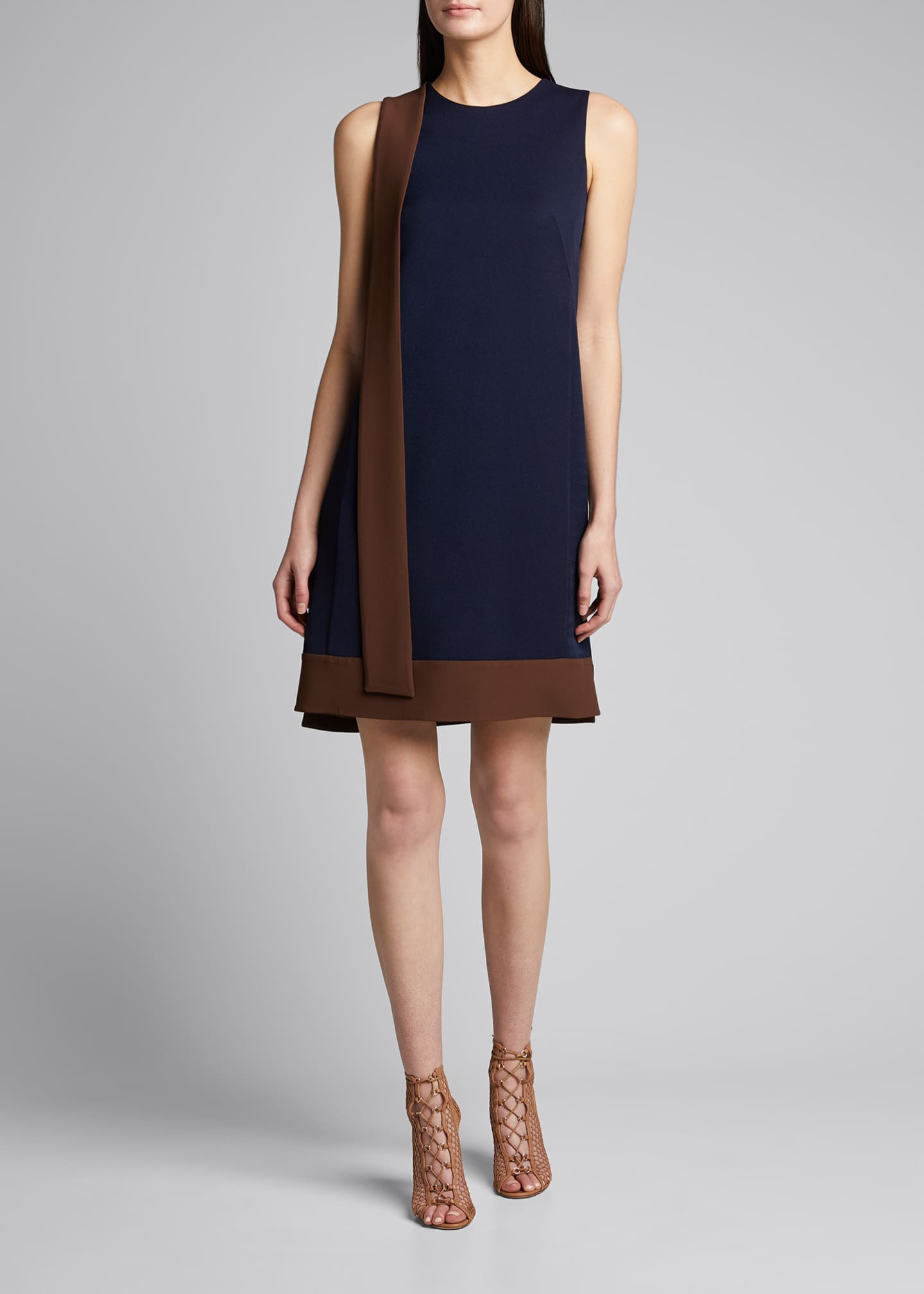 Image 3 of 5: Two-Tone Crepe Dress