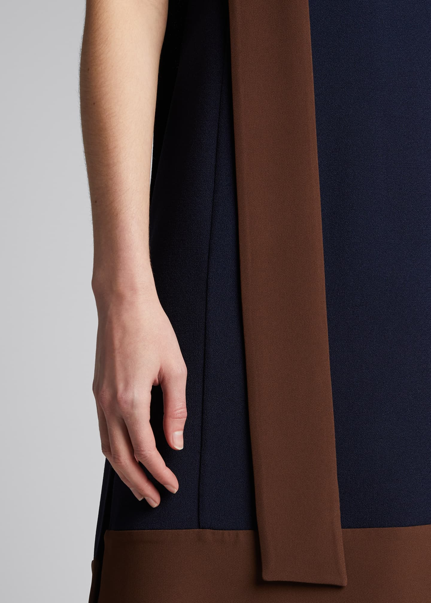 Image 4 of 5: Two-Tone Crepe Dress