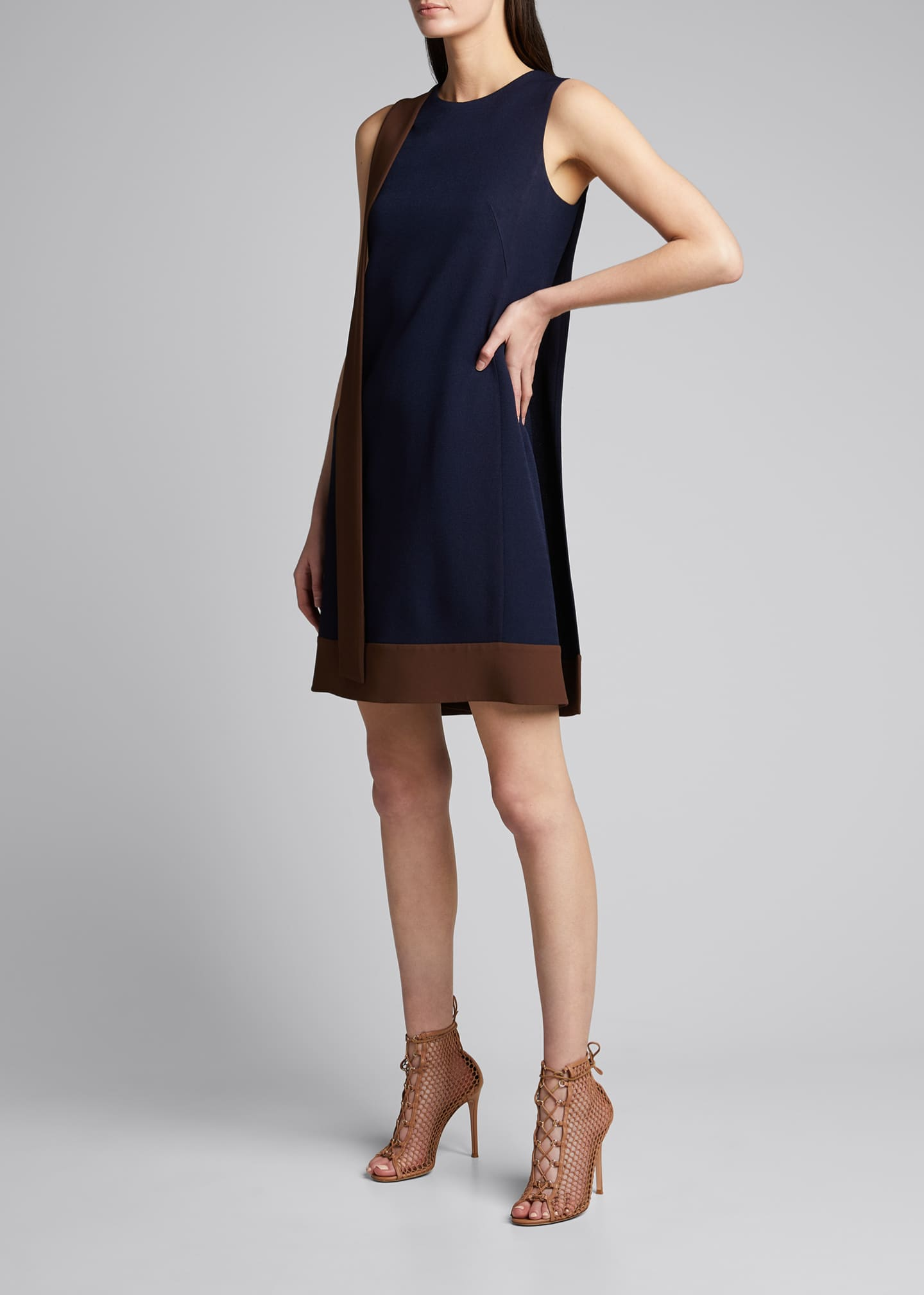 Image 1 of 5: Two-Tone Crepe Dress