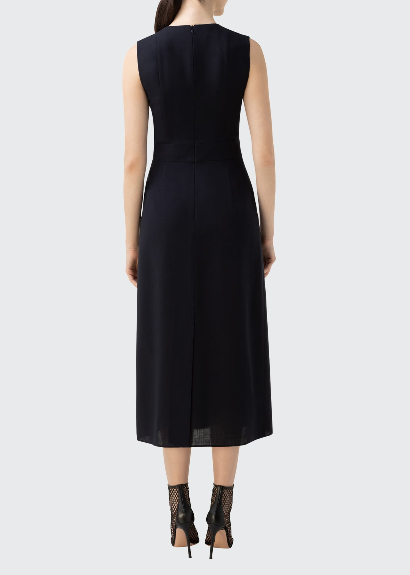 Image 2 of 3: Zip-Front Seamed Wool-Blend Dress