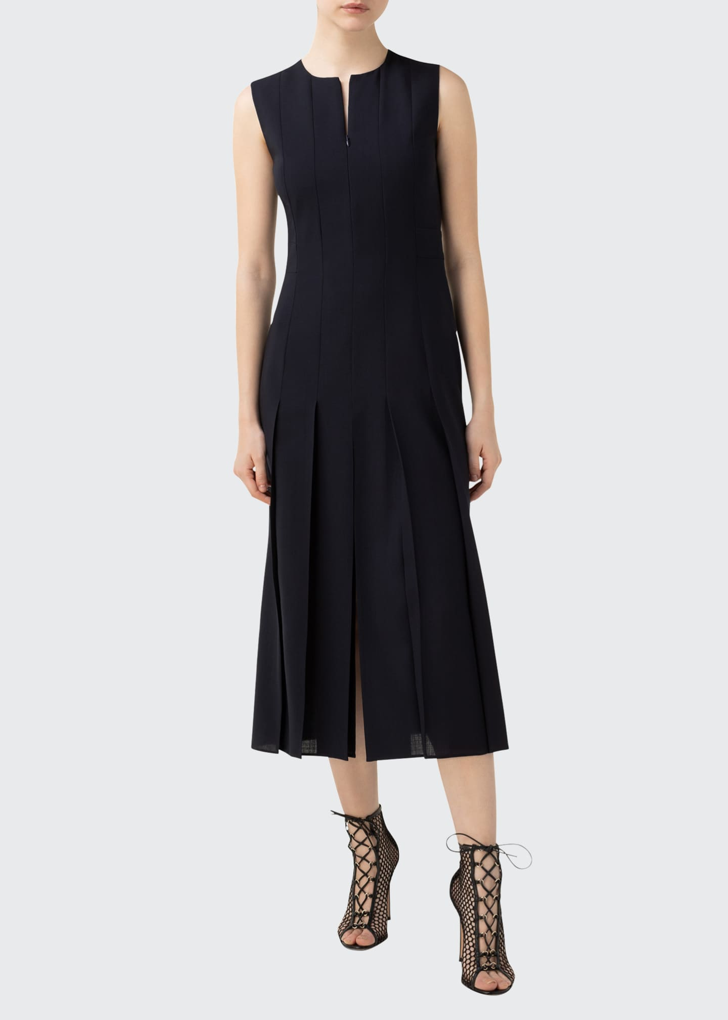 Image 1 of 3: Zip-Front Seamed Wool-Blend Dress