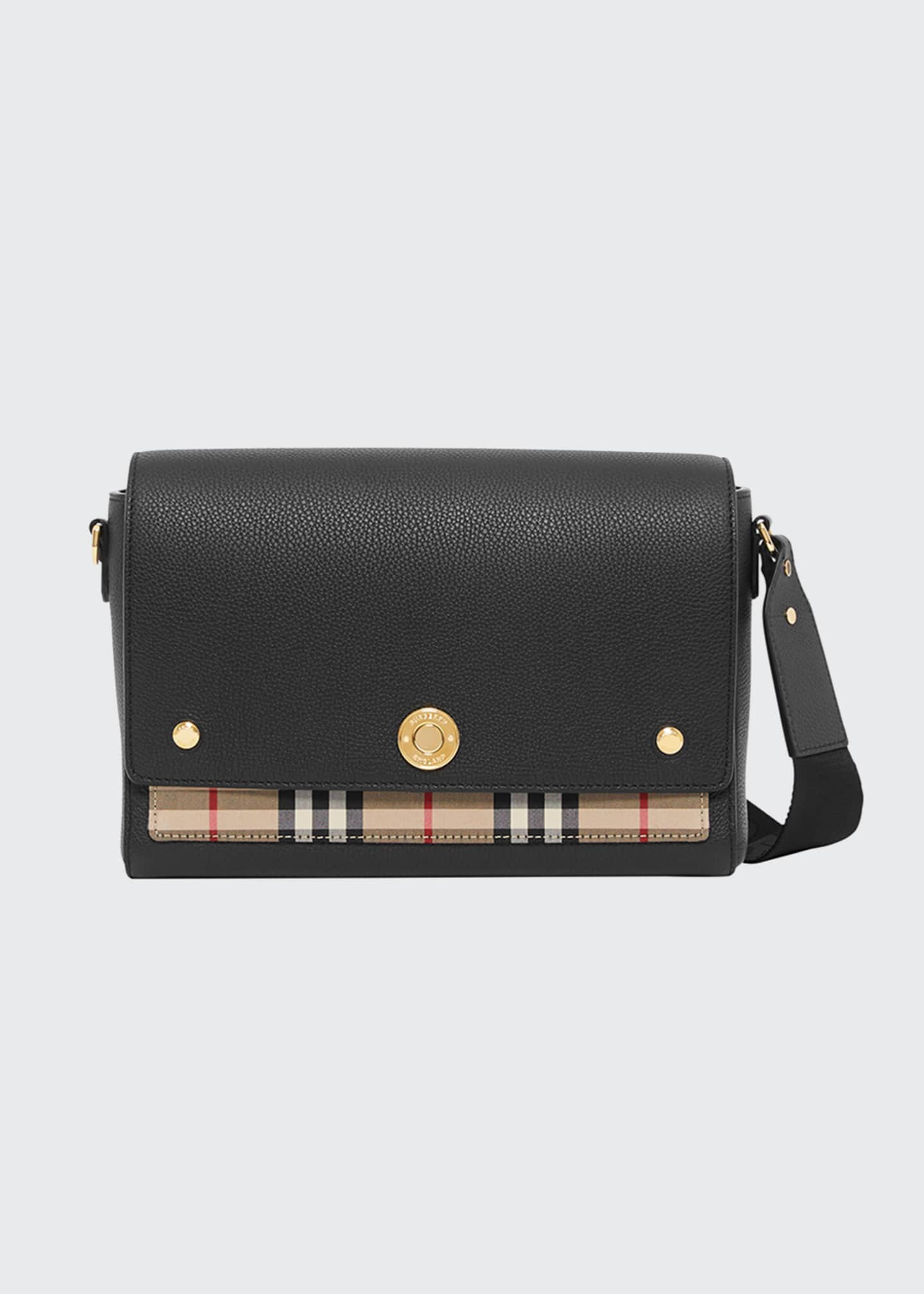 Image 1 of 5: Note Medium Leather & Vintage Check Crossbody Bag