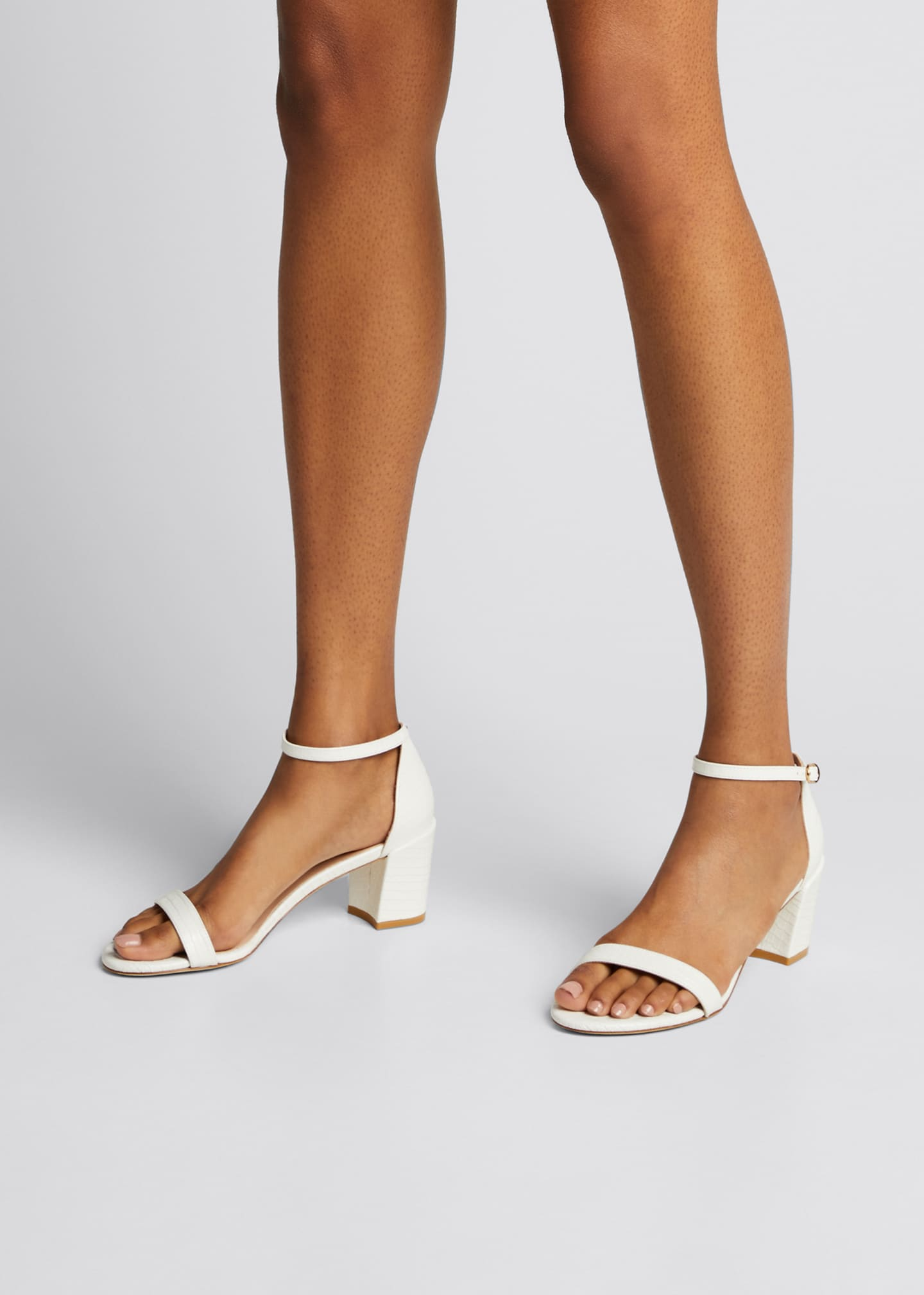 Image 2 of 5: Simple Croco Ankle-Strap Sandals