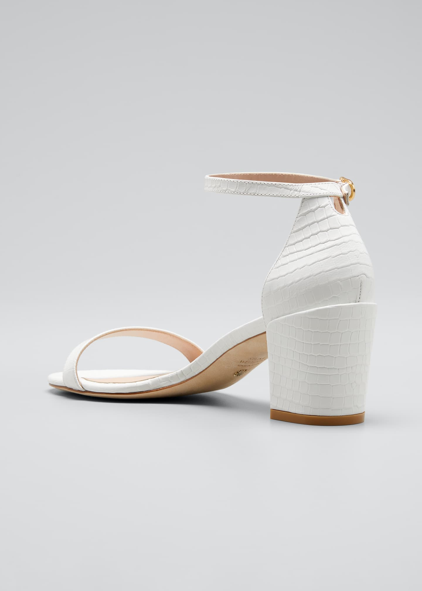 Image 4 of 5: Simple Croco Ankle-Strap Sandals