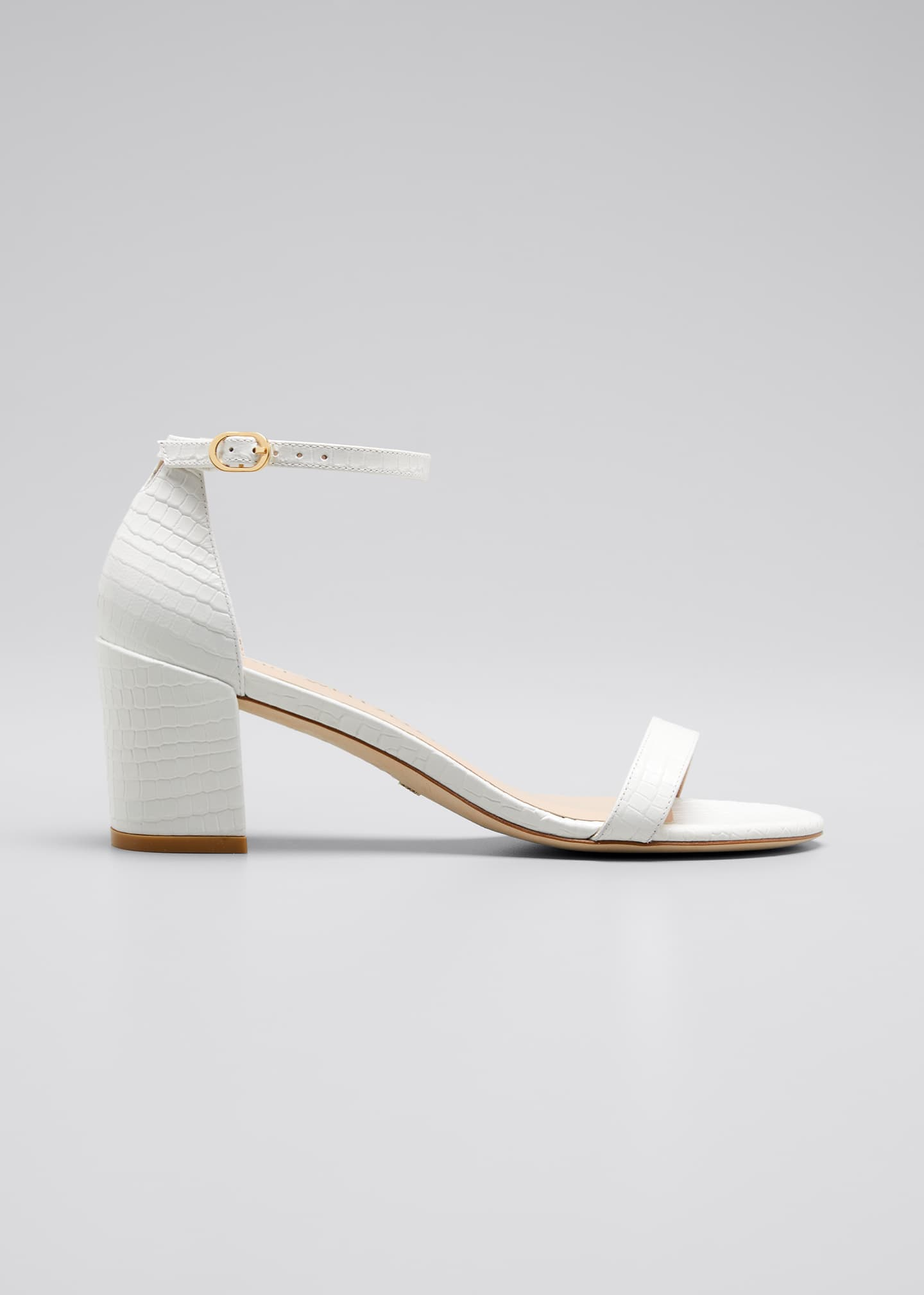 Image 1 of 5: Simple Croco Ankle-Strap Sandals