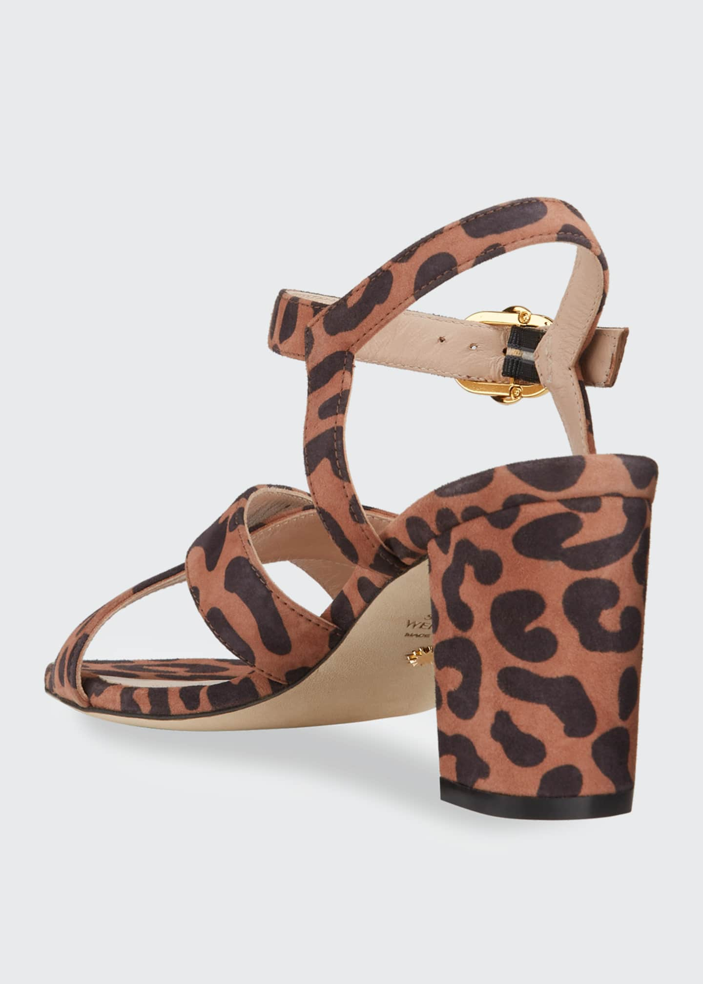 Image 3 of 4: Analeigh 75 Easy Square-Toe Leopard-Print Suede Sandals