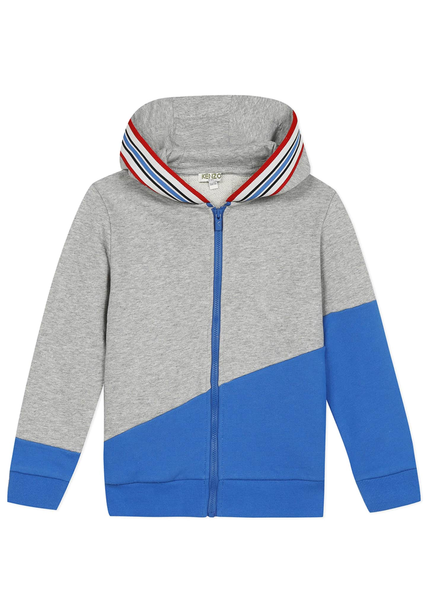 Image 1 of 4: Boy's Logo Tape Zip-Front Fleece Hoodie Jacket, Size 8-12