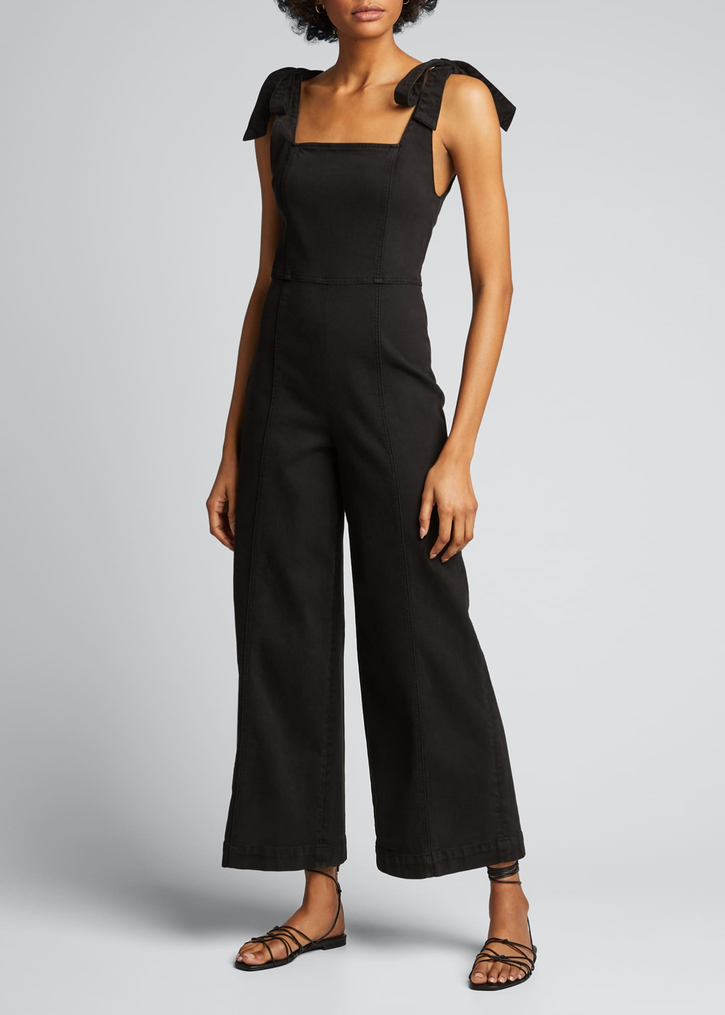 Image 3 of 5: Kinley Tie-Shoulder Gaucho Jumpsuit
