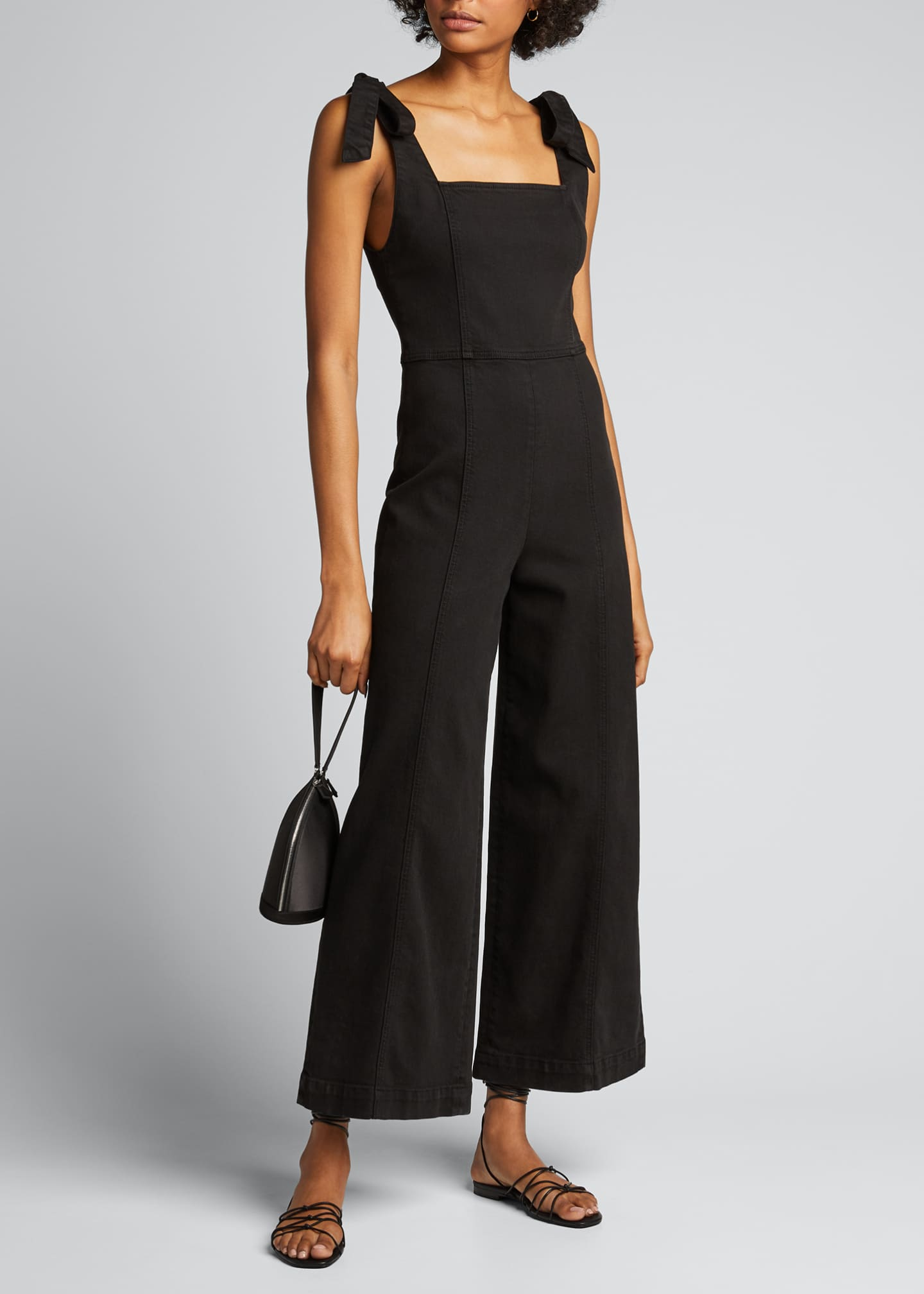 Image 1 of 5: Kinley Tie-Shoulder Gaucho Jumpsuit