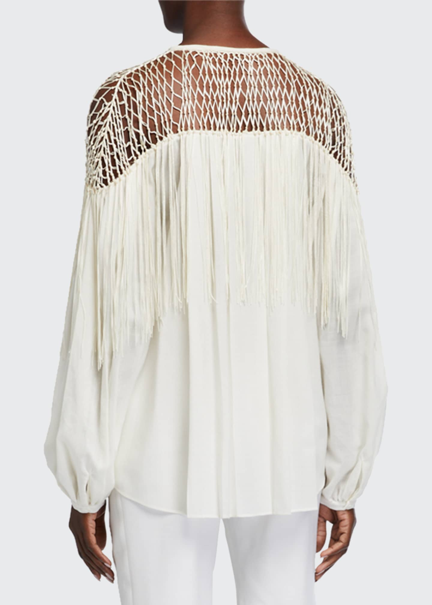 Image 2 of 2: Aglaia Long-Sleeve Blouse with Silk Macrame