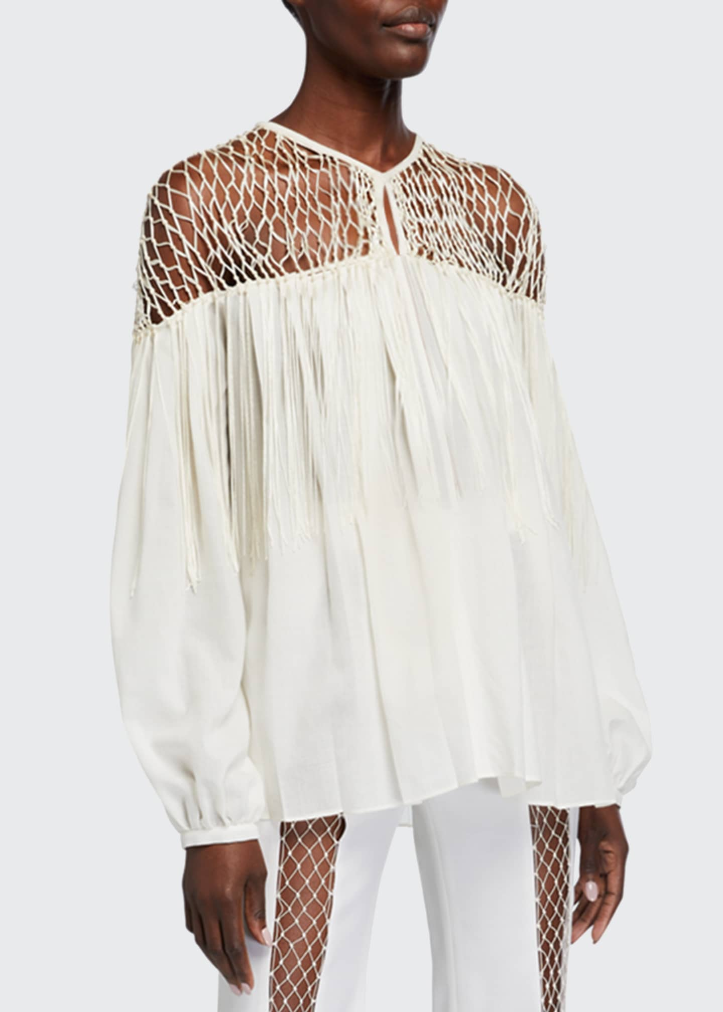 Image 1 of 2: Aglaia Long-Sleeve Blouse with Silk Macrame