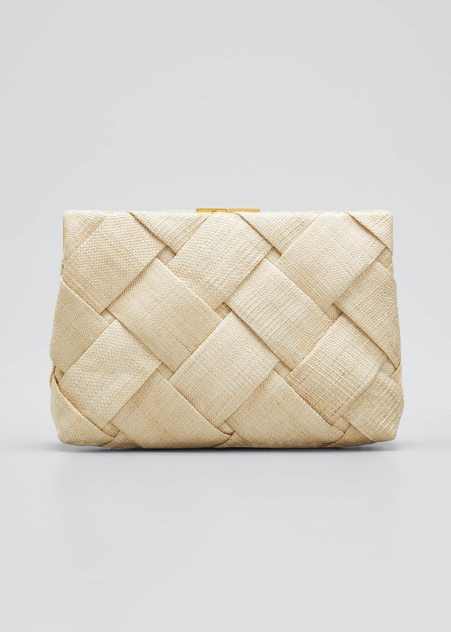 NANCY GONZALEZ Small Woven Linen/Croc Frame Clutch Bag