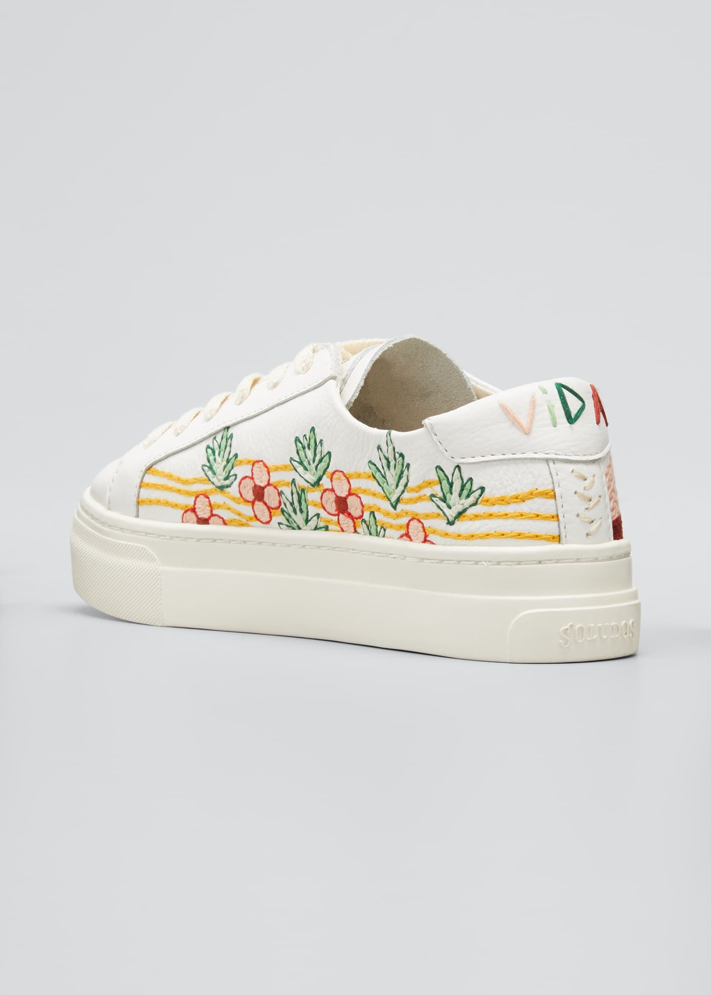 Image 2 of 3: Hawaiian Fauna Embroidered Low-Top Sneakers