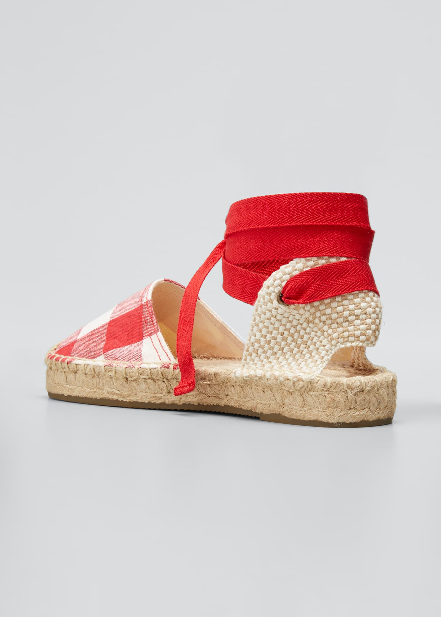 Image 2 of 3: Lauren Gingham Ankle-Wrap Espadrille Sandals
