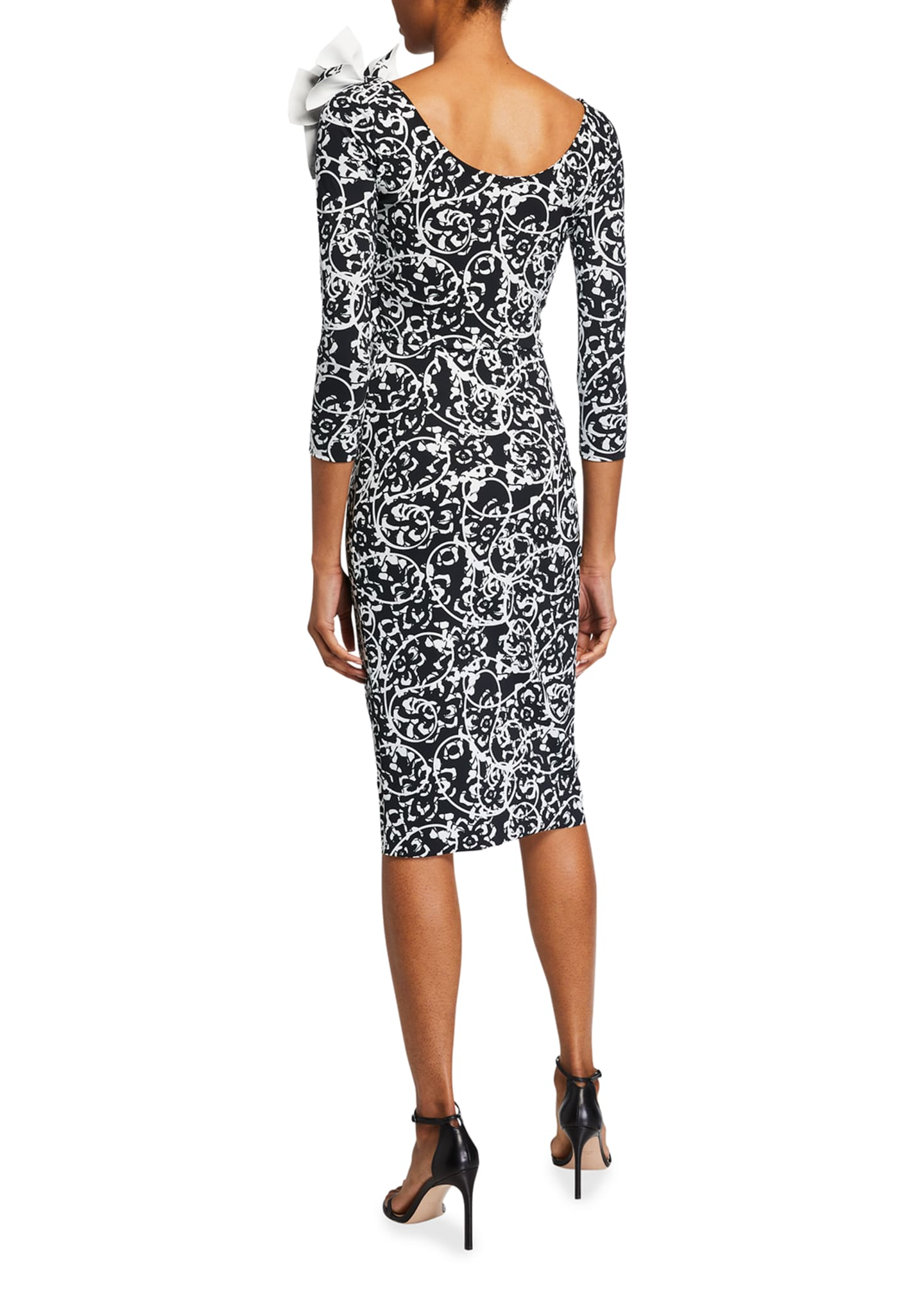 Image 2 of 2: V-Neck Printed 3/4-Sleeve Dress w/ Shoulder Detail