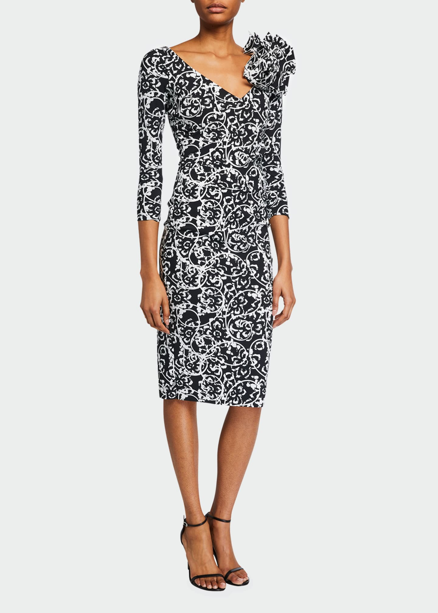 V-Neck Printed 3/4-Sleeve Dress w/ Shoulder Detail