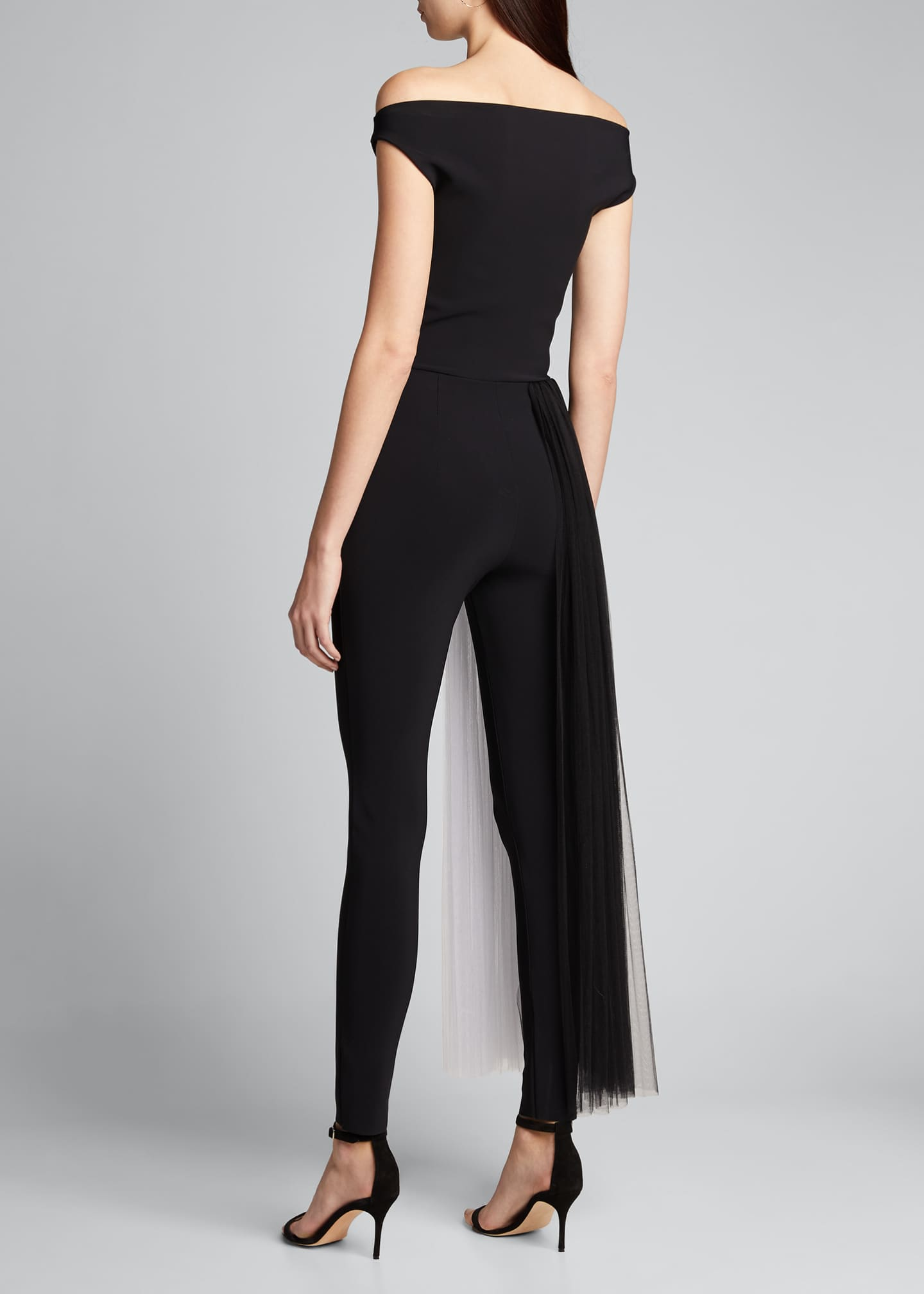 Image 2 of 5: Mar Two-Tone Off-the-Shoulder Jumpsuit w/ Illusion Waist Train