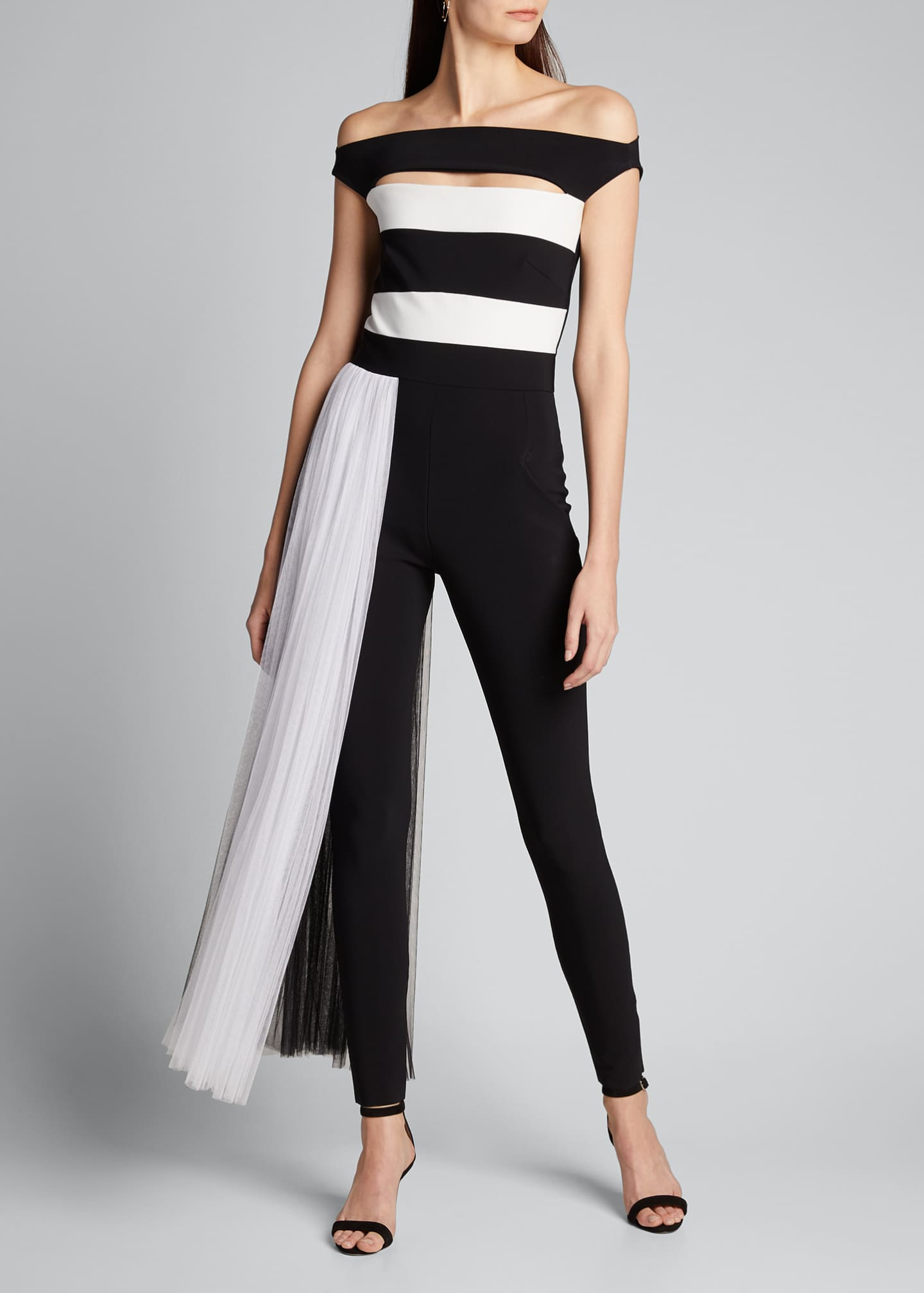 Image 3 of 5: Mar Two-Tone Off-the-Shoulder Jumpsuit w/ Illusion Waist Train