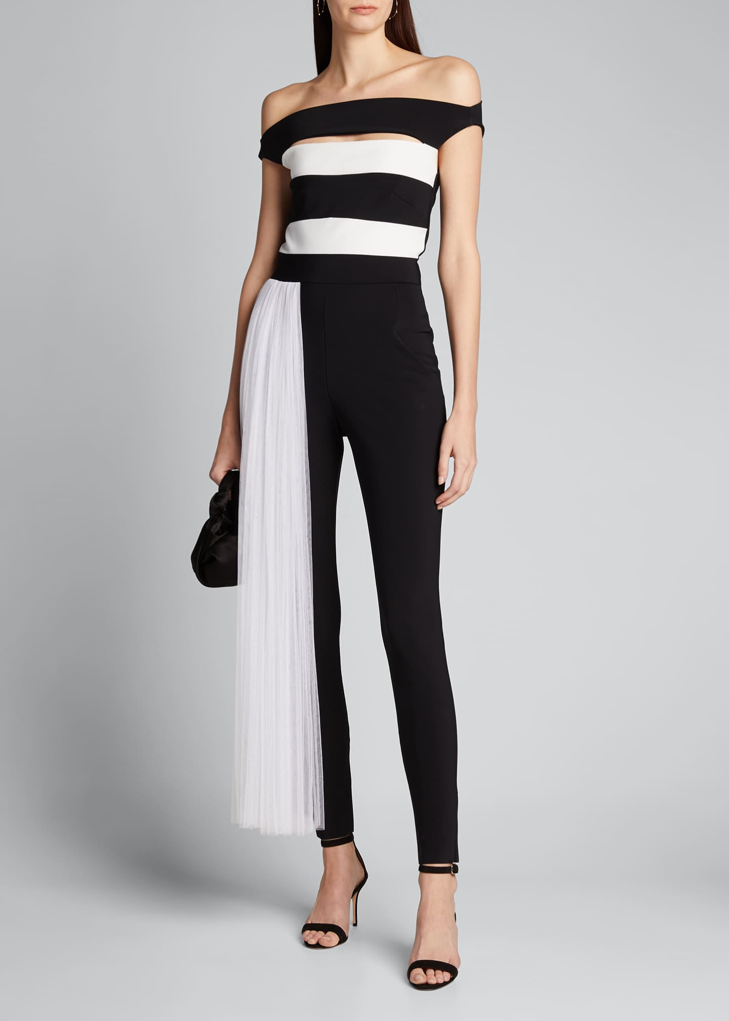 Image 1 of 5: Mar Two-Tone Off-the-Shoulder Jumpsuit w/ Illusion Waist Train