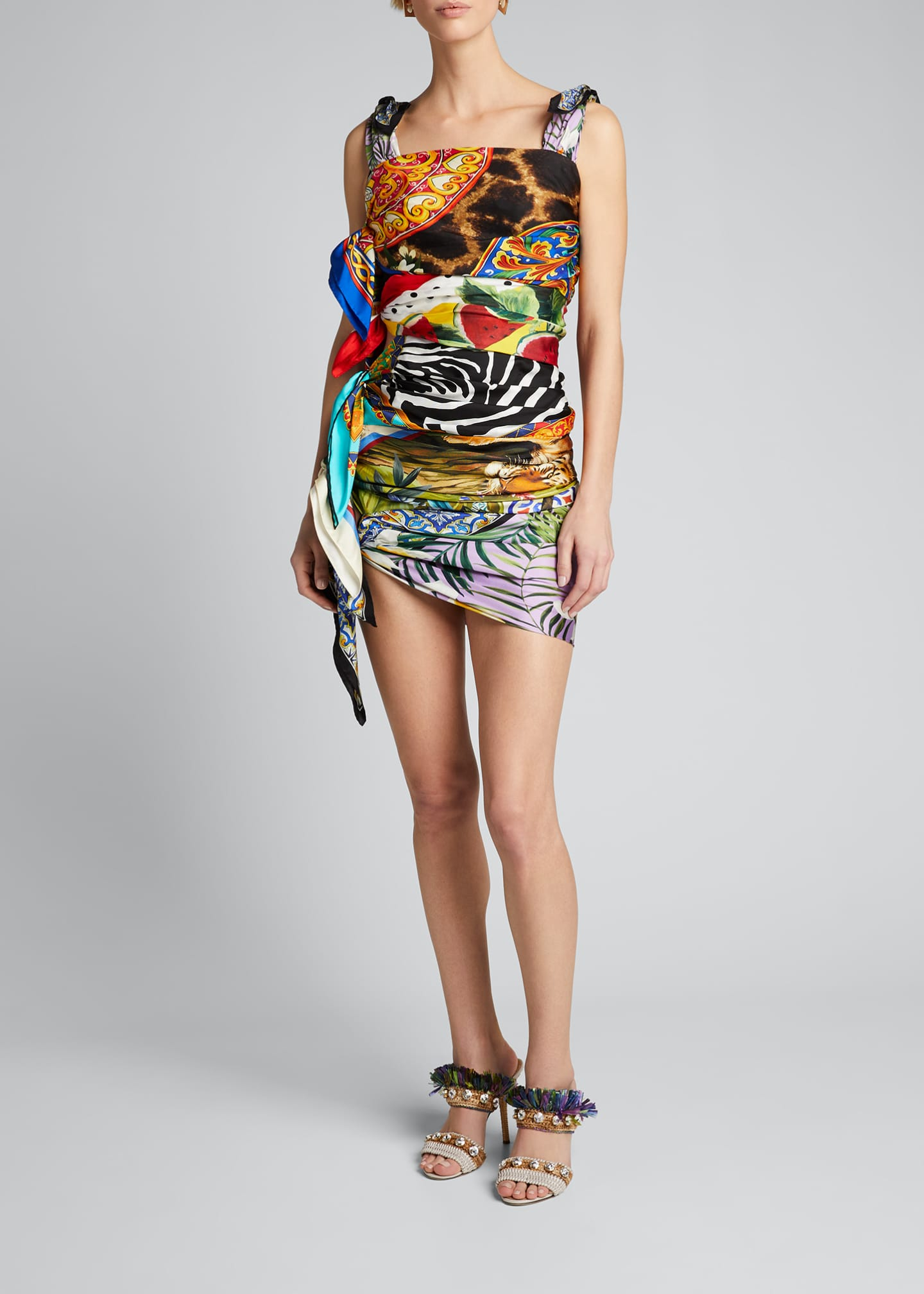 Image 3 of 5: Silk Scarf-Tied Bodycon Dress