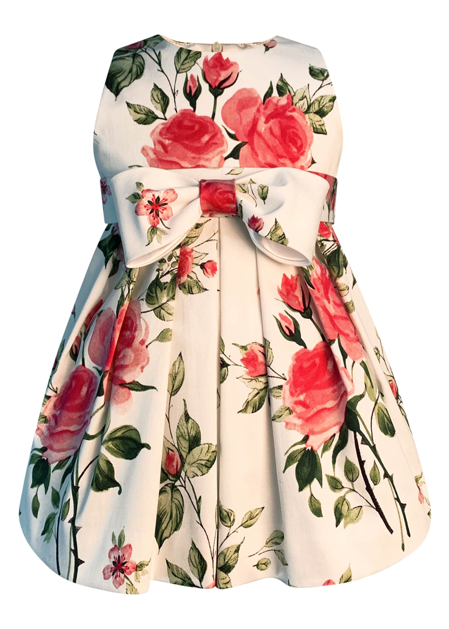 Image 1 of 2: Girl's Baby Love Floral Print Bow Dress, Size 2-6
