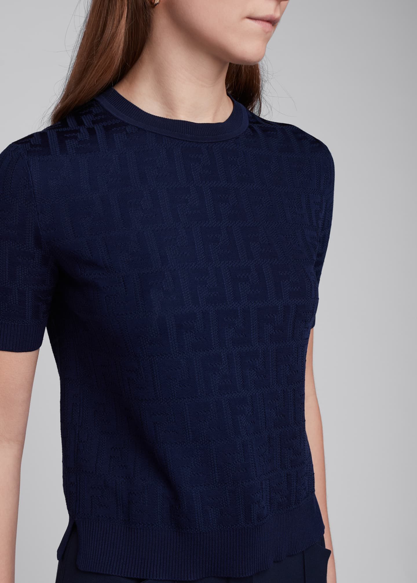 Image 4 of 4: Logo-Jacquard Short-Sleeve Sweater