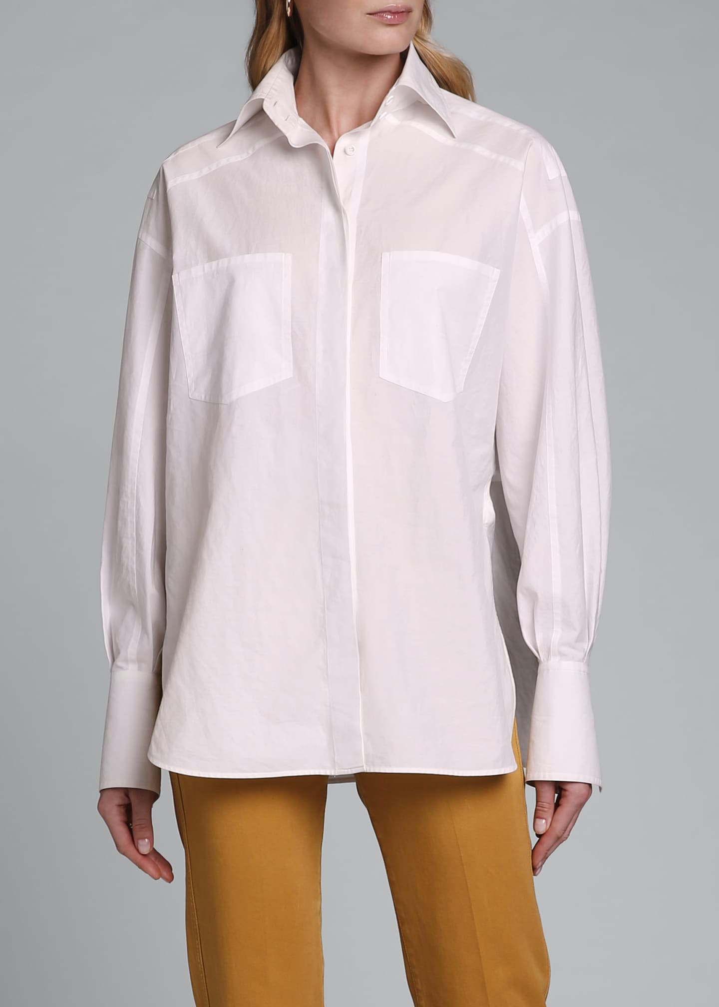 Image 2 of 3: Dolman-Sleeve Cotton Blouse with Oversize Pockets