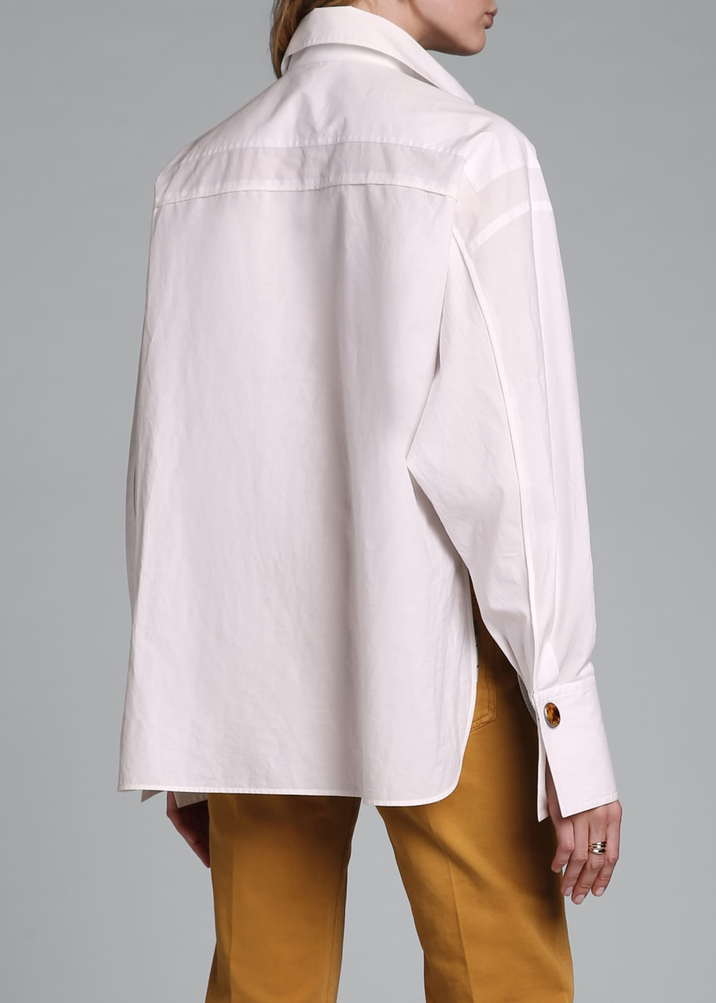 Image 3 of 3: Dolman-Sleeve Cotton Blouse with Oversize Pockets