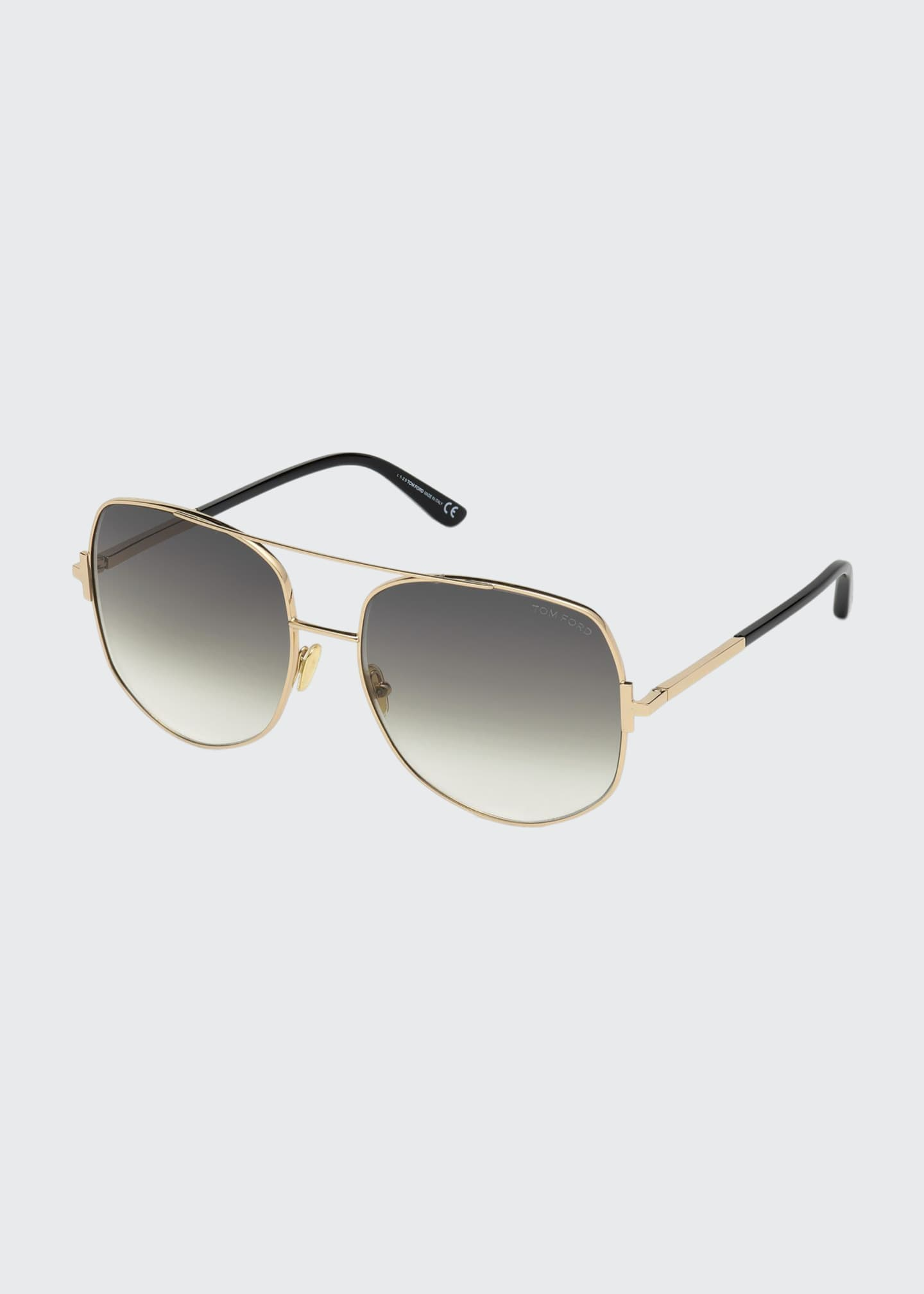 Image 1 of 1: Lennox Rounded Metal Aviator Sunglasses