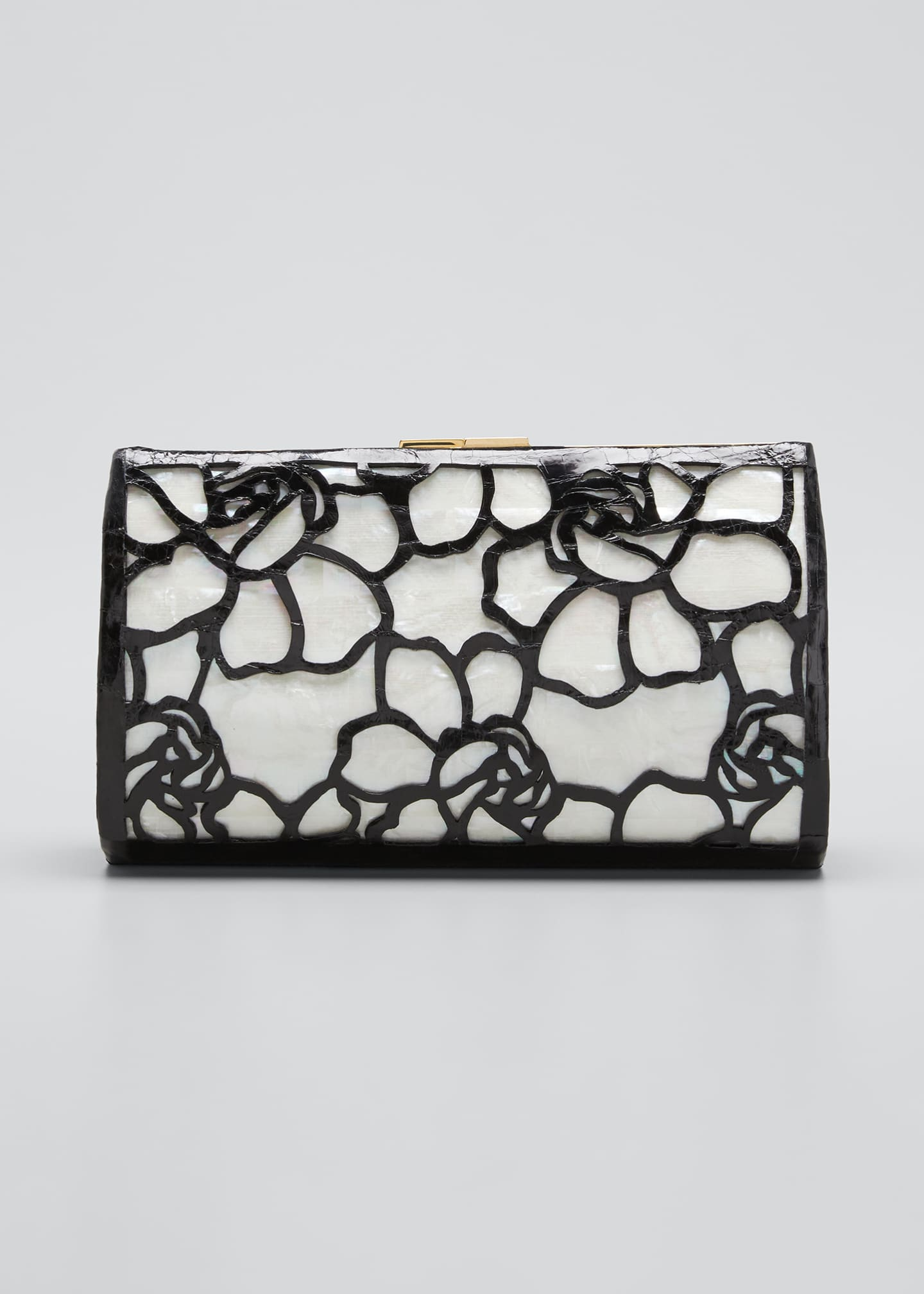 NANCY GONZALEZ Colette Exposed Frame Clutch Bag with Mother-of-Pearl