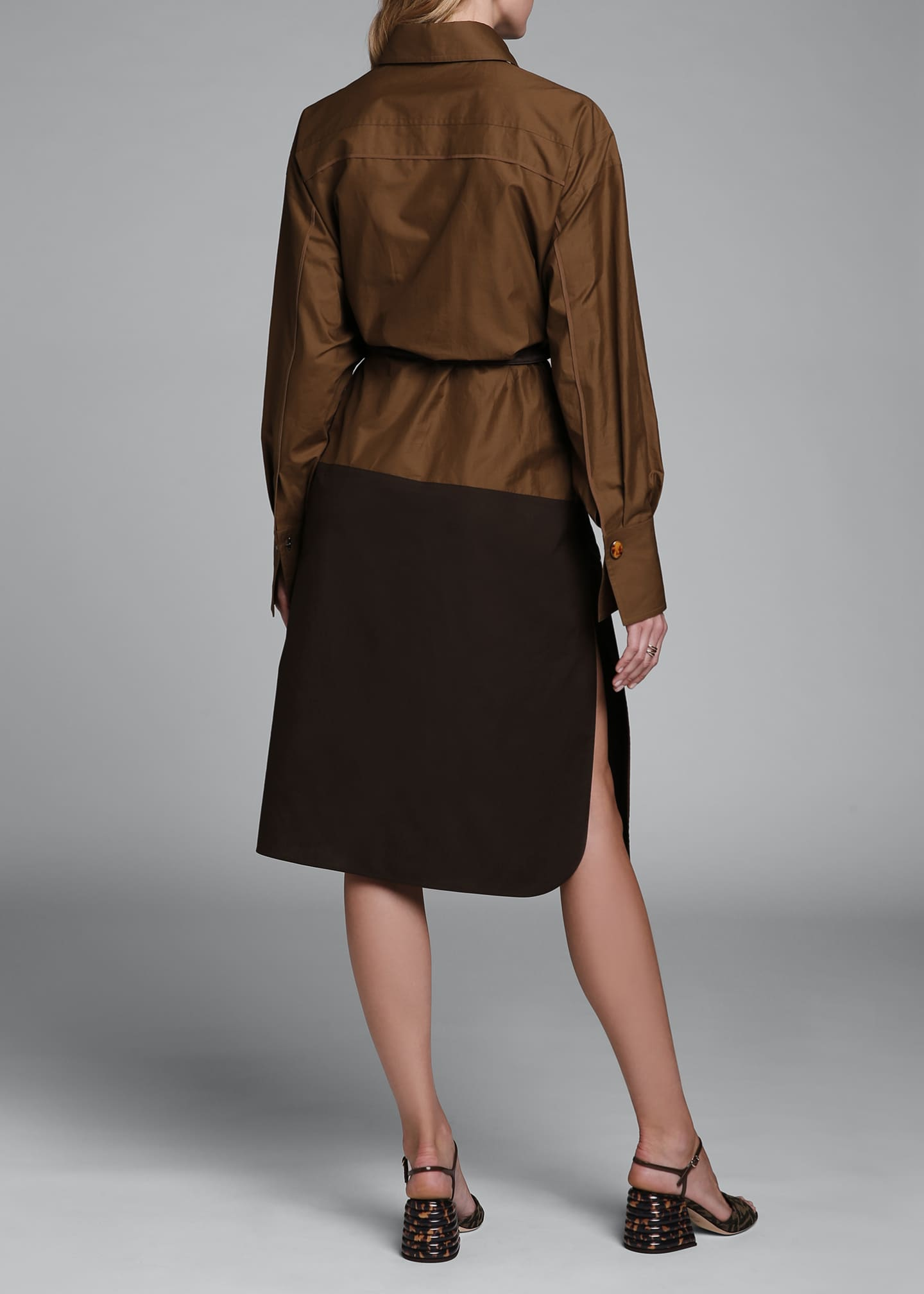 Image 2 of 4: Long-Sleeve Cotton Oversize Colorblock Shirtdress