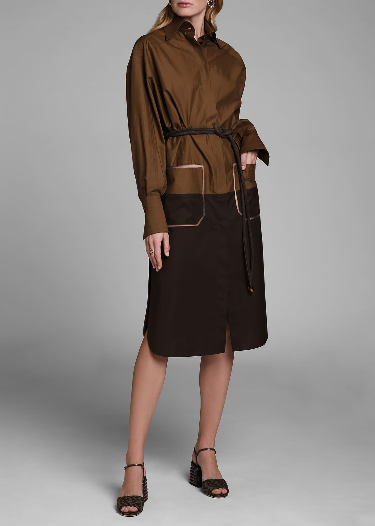 Image 3 of 4: Long-Sleeve Cotton Oversize Colorblock Shirtdress