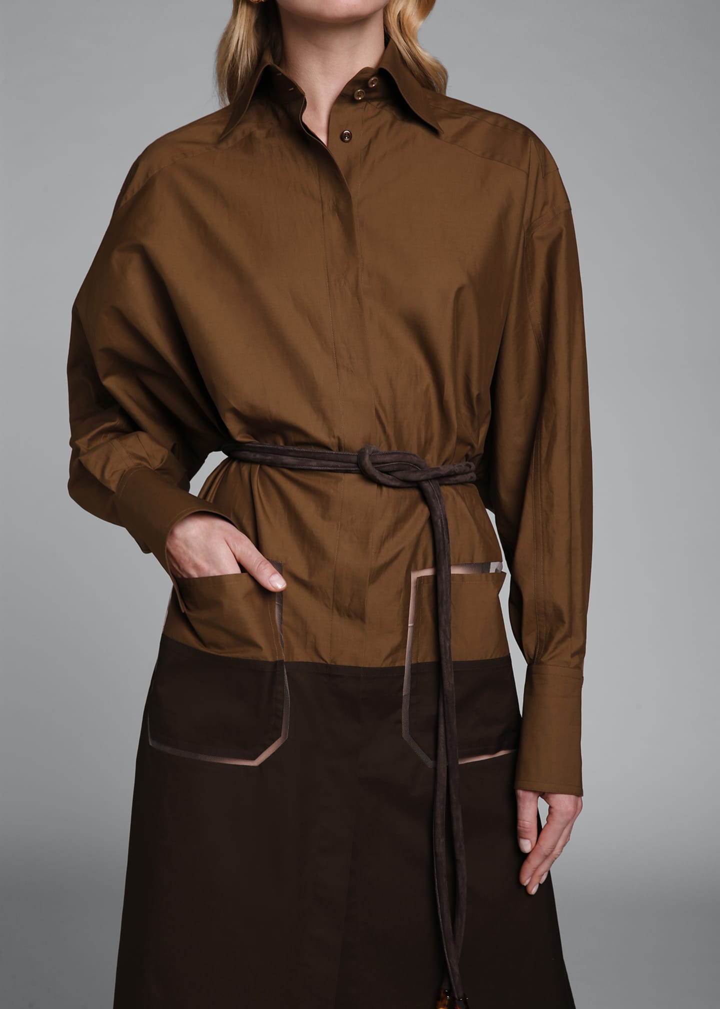 Image 4 of 4: Long-Sleeve Cotton Oversize Colorblock Shirtdress