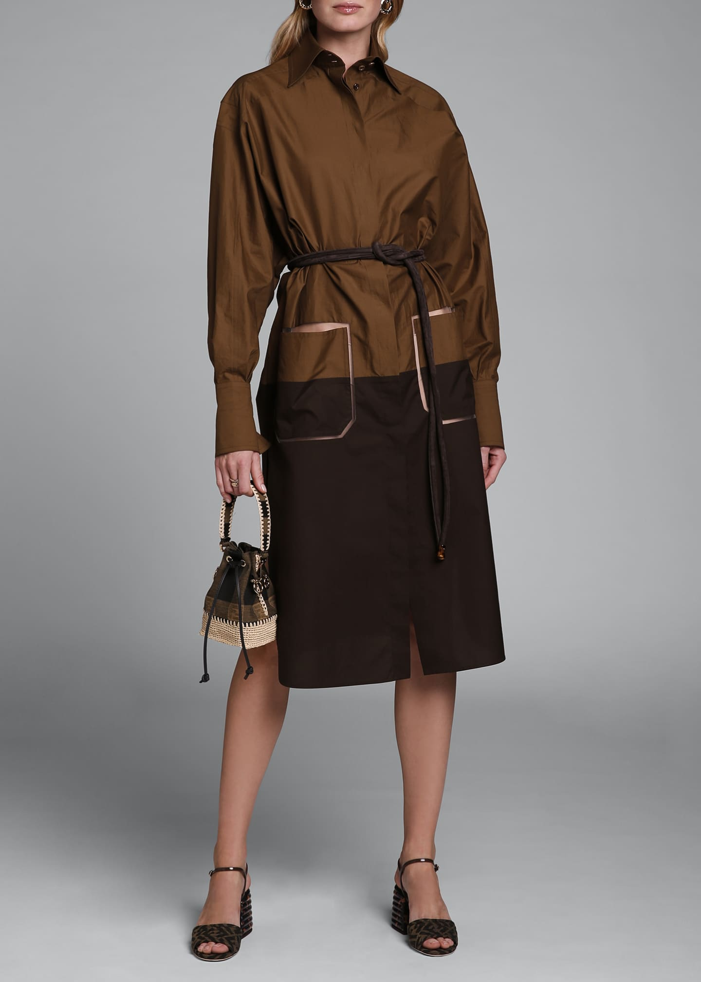 Image 1 of 4: Long-Sleeve Cotton Oversize Colorblock Shirtdress