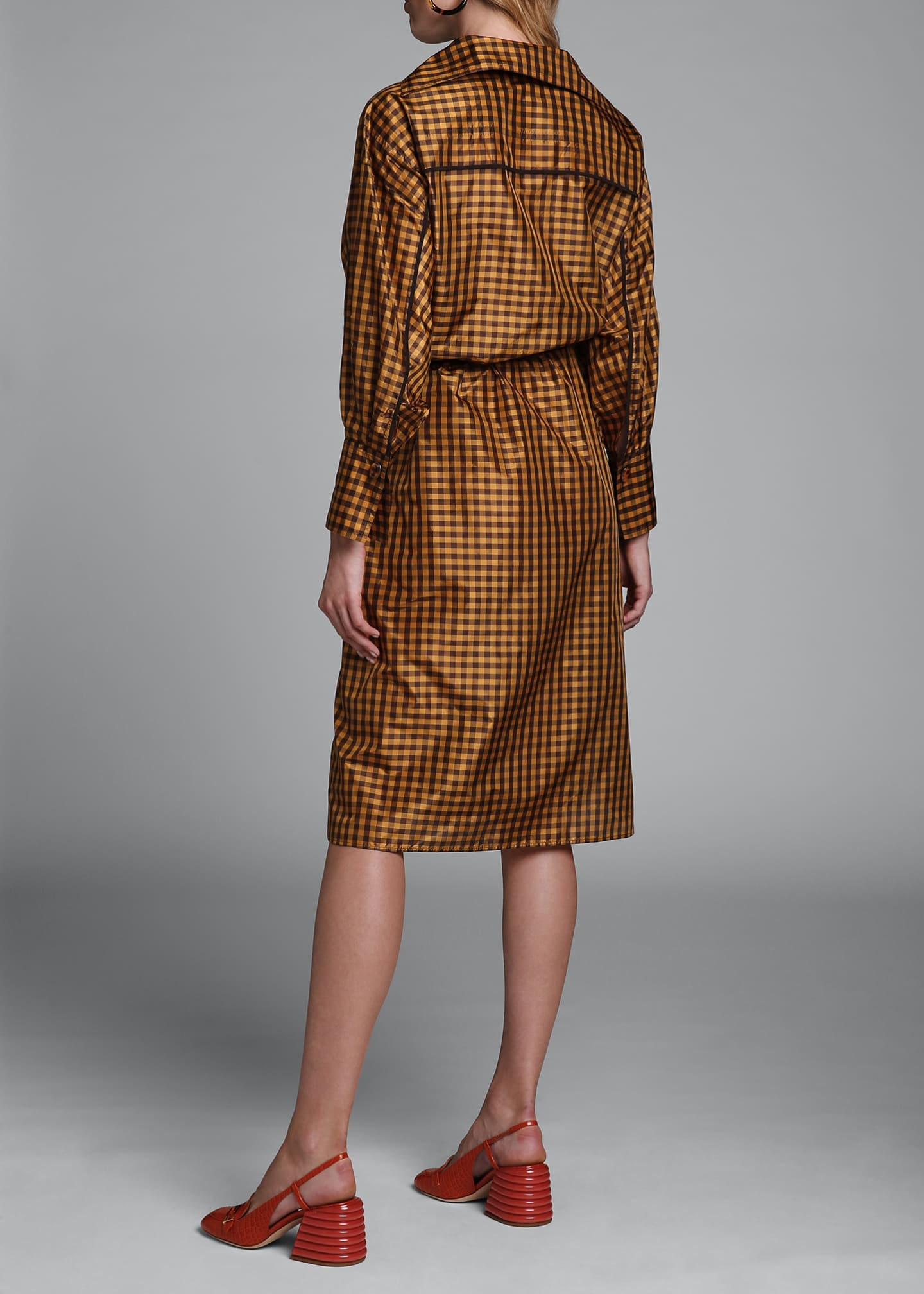 Image 2 of 4: Long-Sleeve Taffeta Check Shirtdress