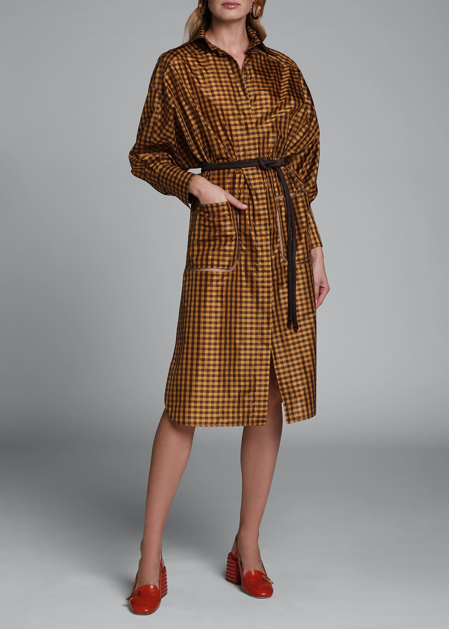 Image 3 of 4: Long-Sleeve Taffeta Check Shirtdress