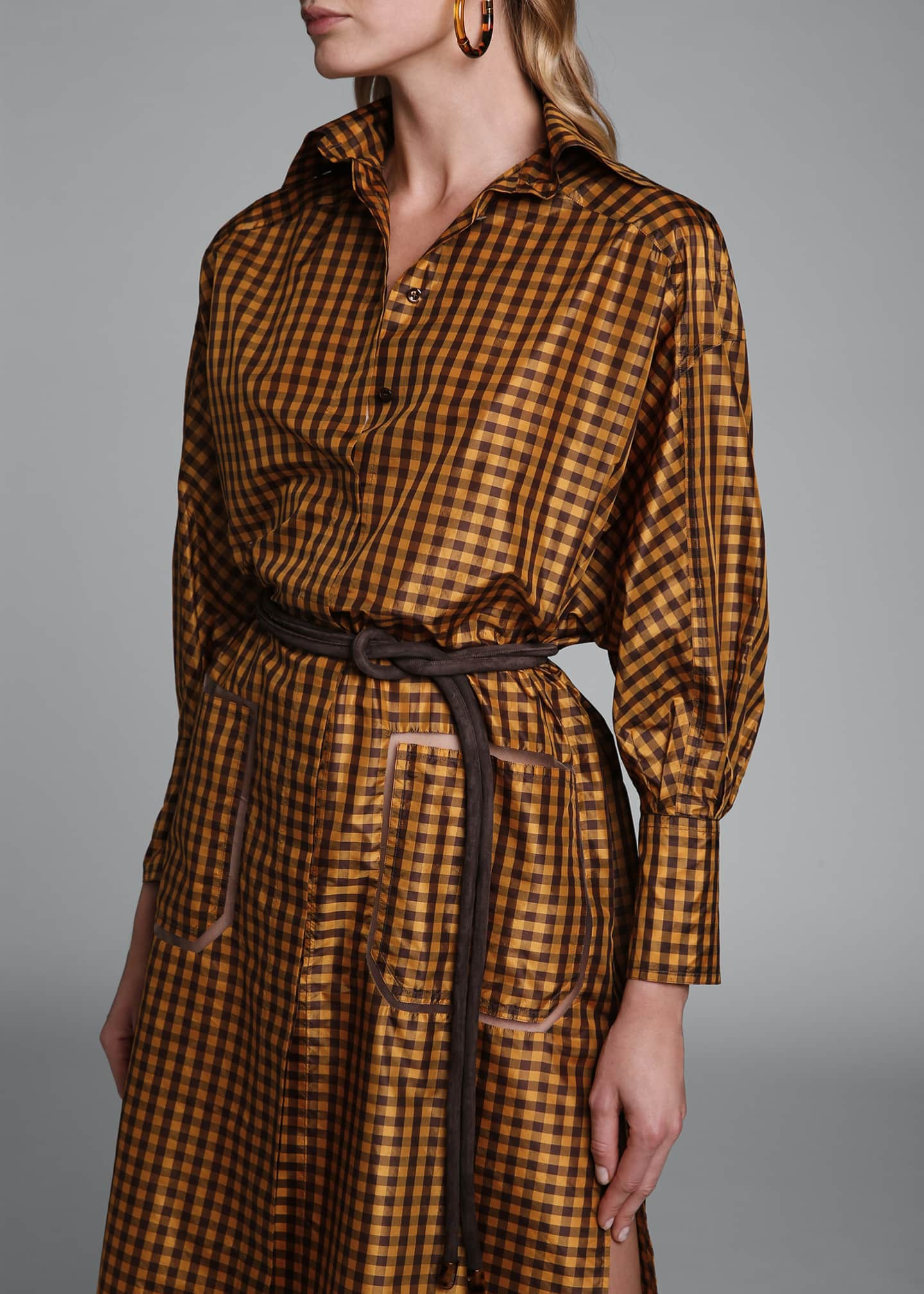 Image 4 of 4: Long-Sleeve Taffeta Check Shirtdress
