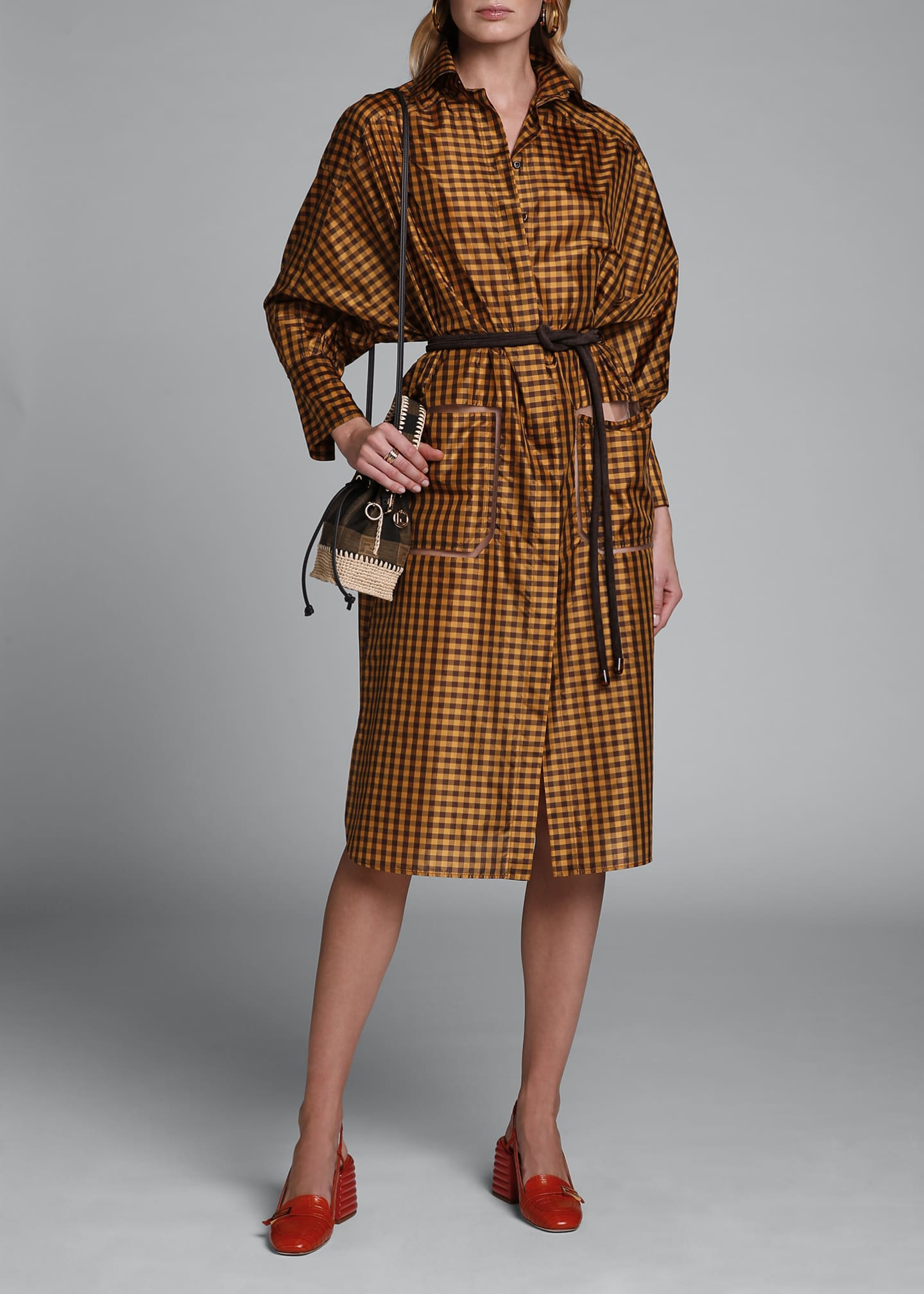 Image 1 of 4: Long-Sleeve Taffeta Check Shirtdress