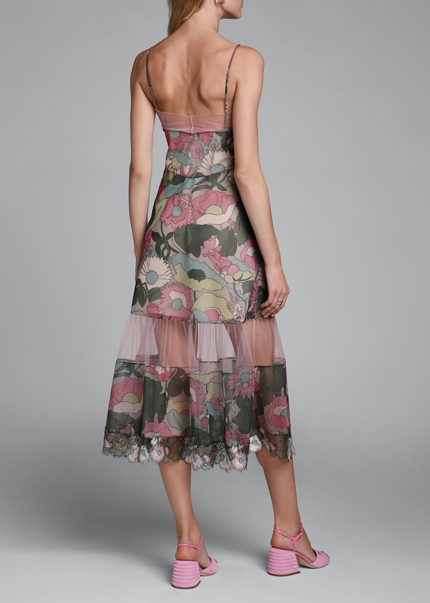 Image 2 of 4: Printed Floral Spaghetti-Strap Dress