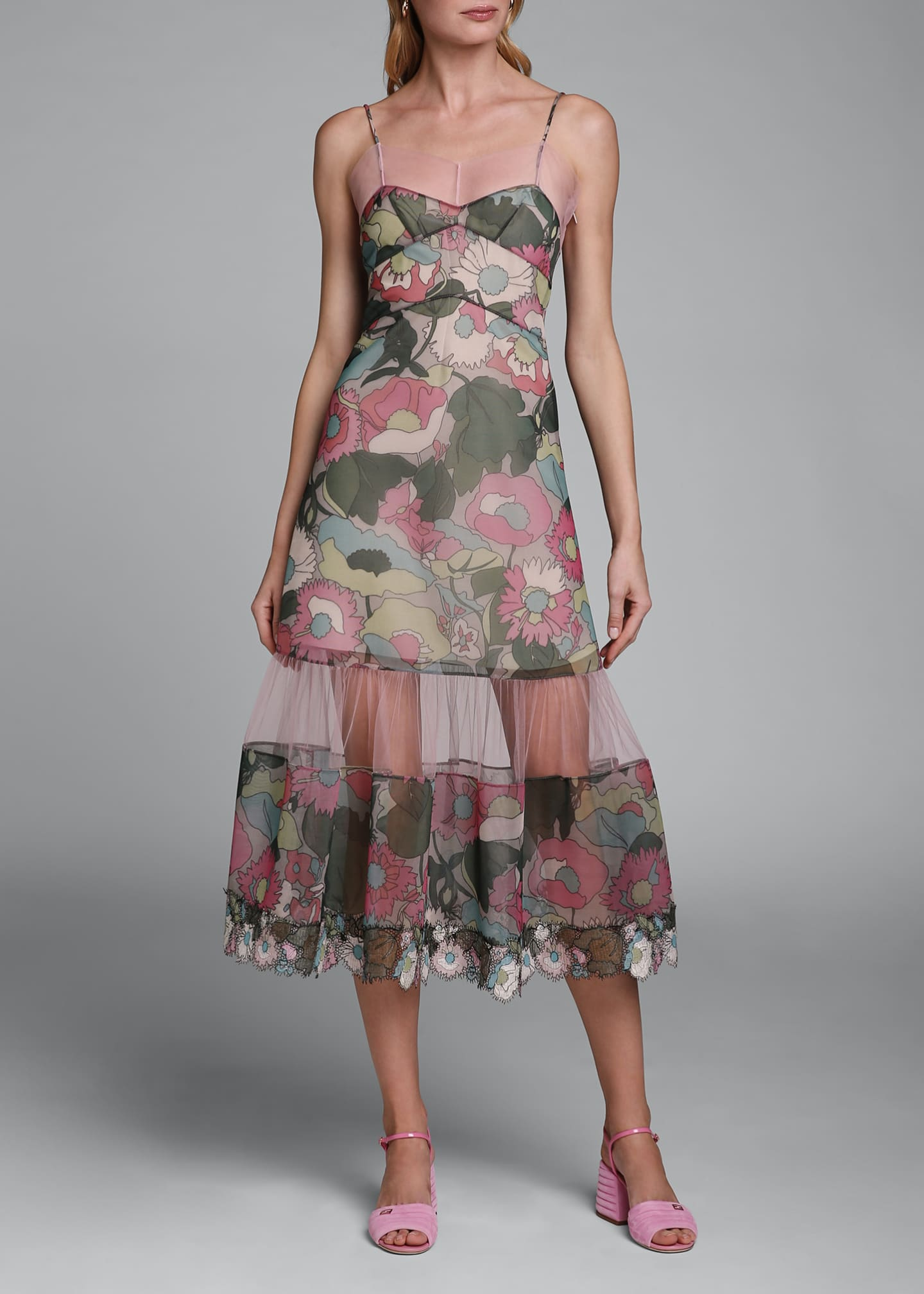 Image 3 of 4: Printed Floral Spaghetti-Strap Dress