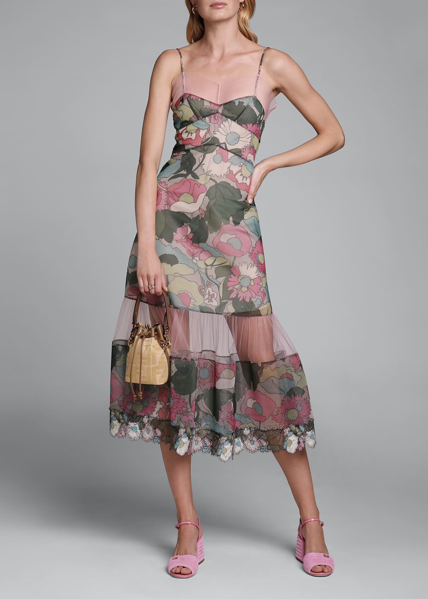 Image 1 of 4: Printed Floral Spaghetti-Strap Dress