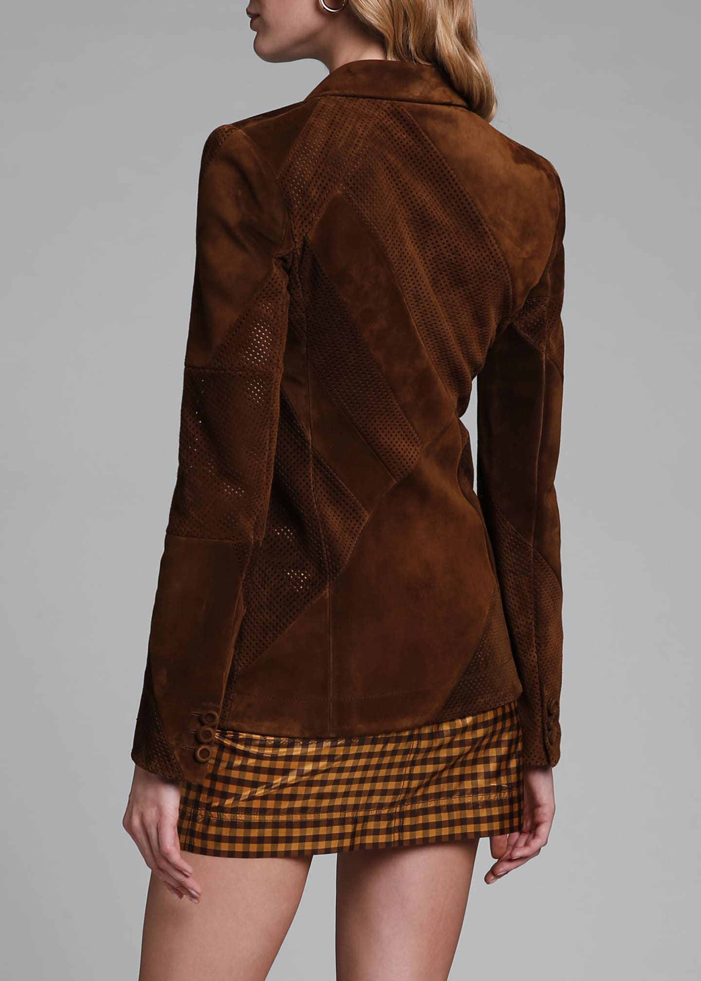 Image 2 of 4: Perforated Suede Double-Breasted Jacket