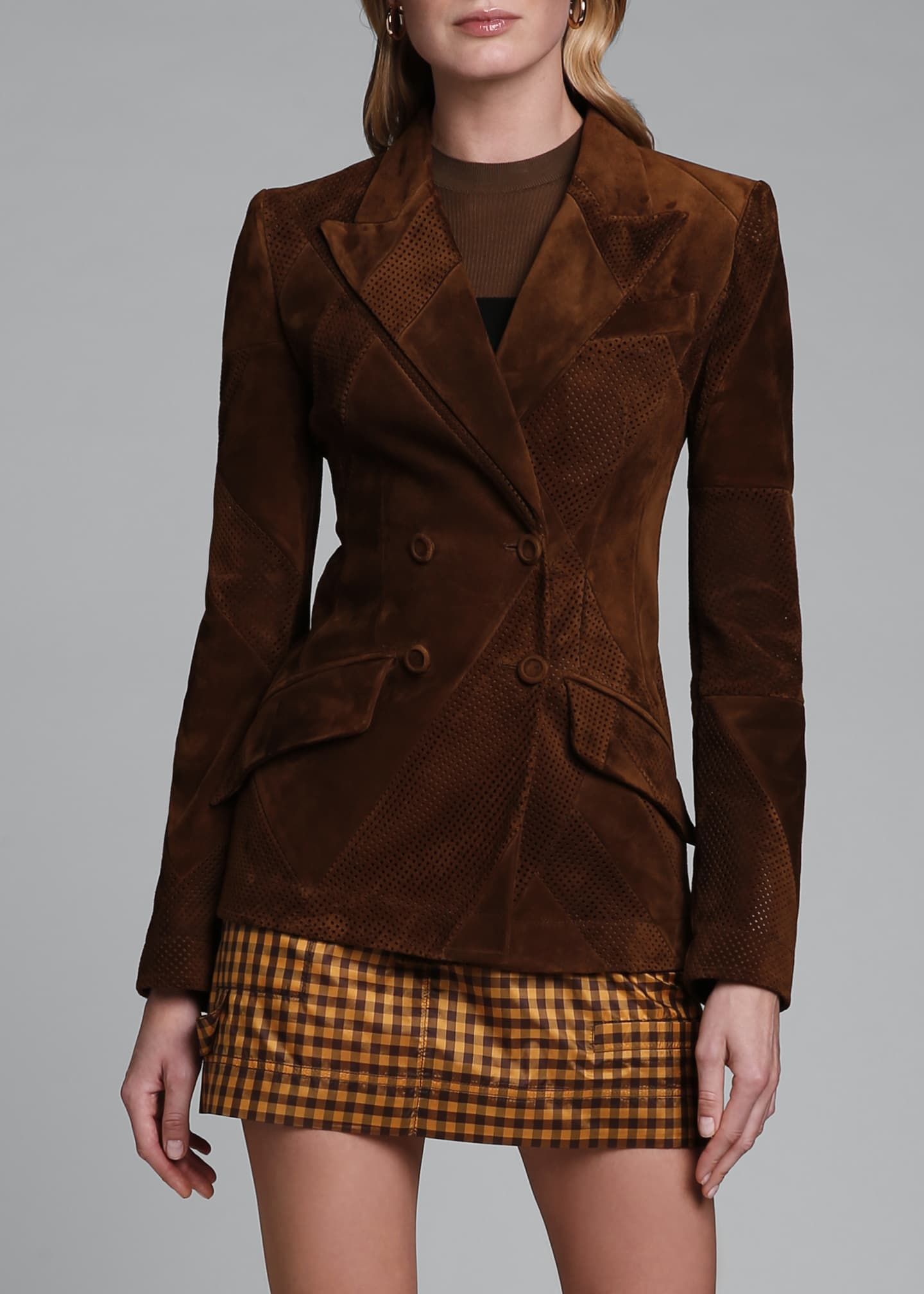 Image 3 of 4: Perforated Suede Double-Breasted Jacket