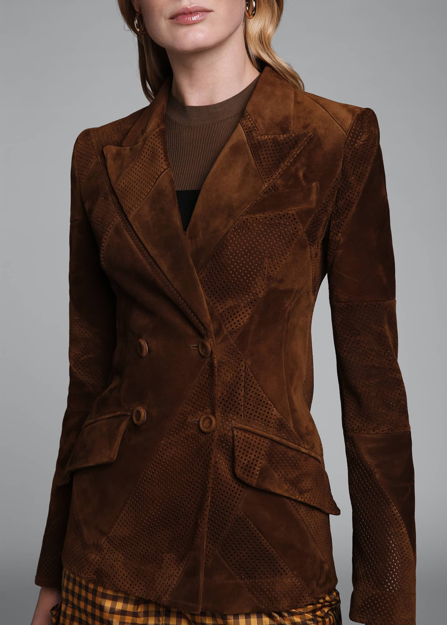 Image 4 of 4: Perforated Suede Double-Breasted Jacket